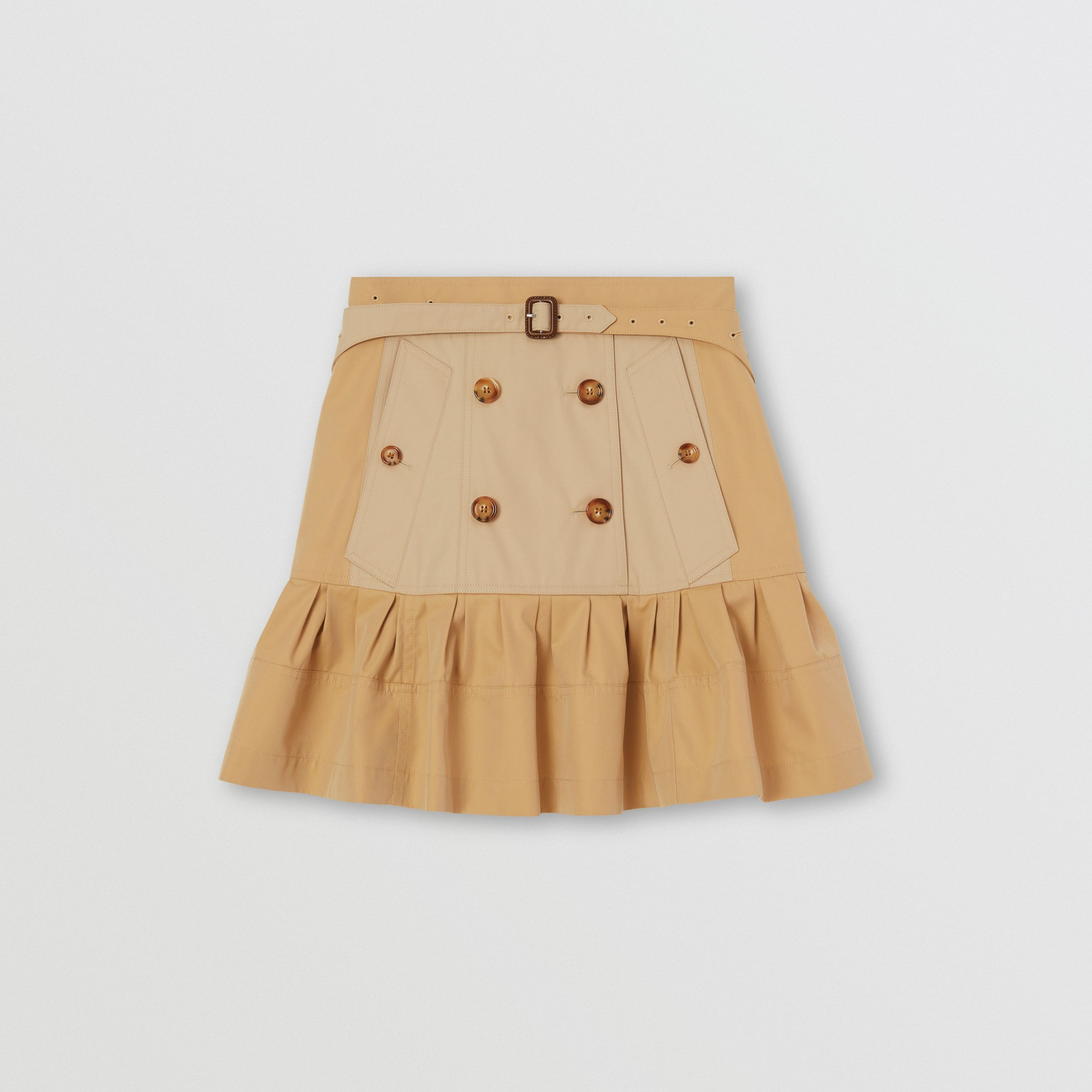 Fluted Two-tone Cotton Gabardine A-line Skirt in Honey - Women | Burberry - 4