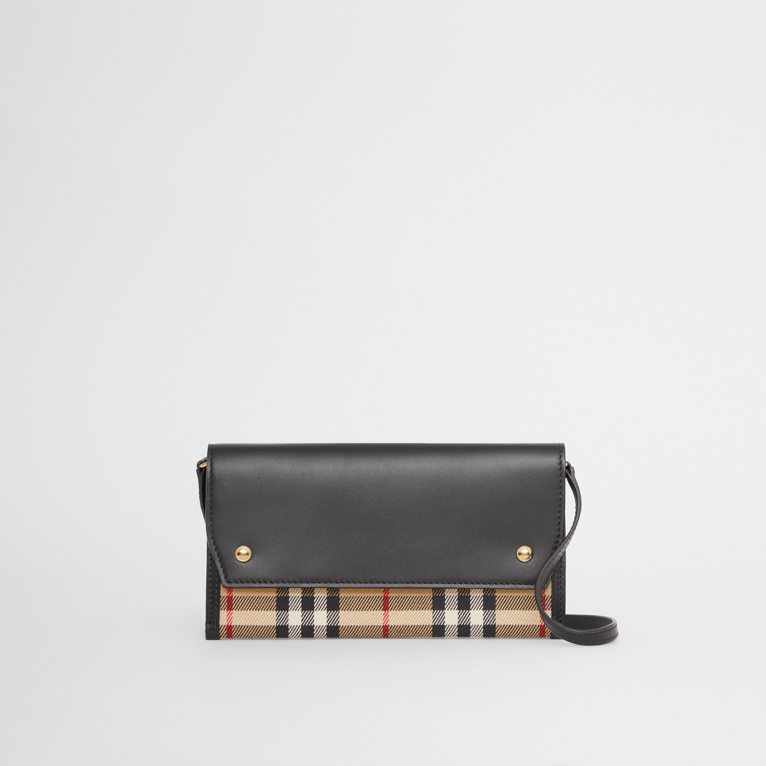 Vintage Check and Leather Phone Case with Strap in Archive Beige - Women | Burberry United Kingdom - 1