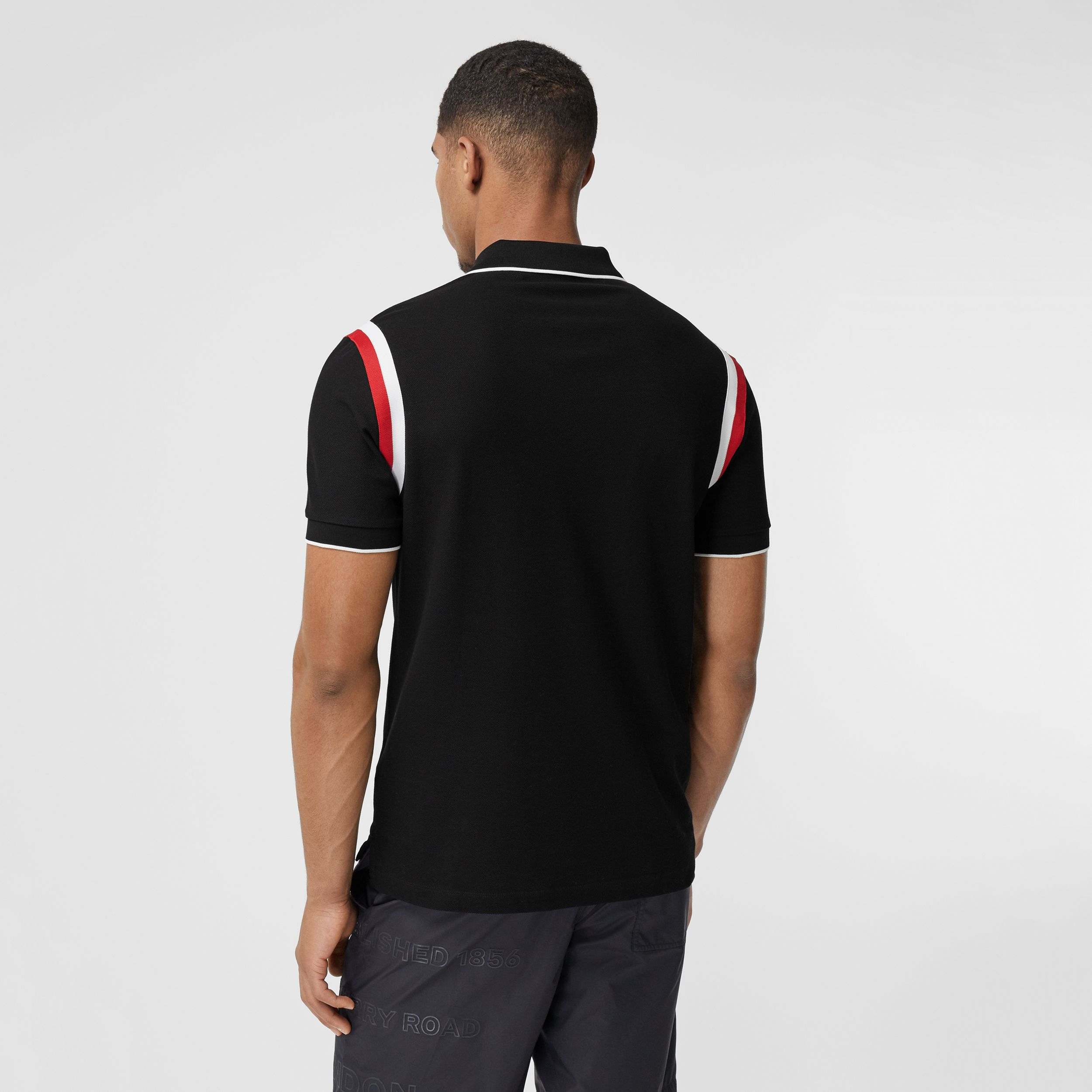 Logo Graphic Appliqué Cotton Piqué Polo Shirt in Black - Men | Burberry - 3