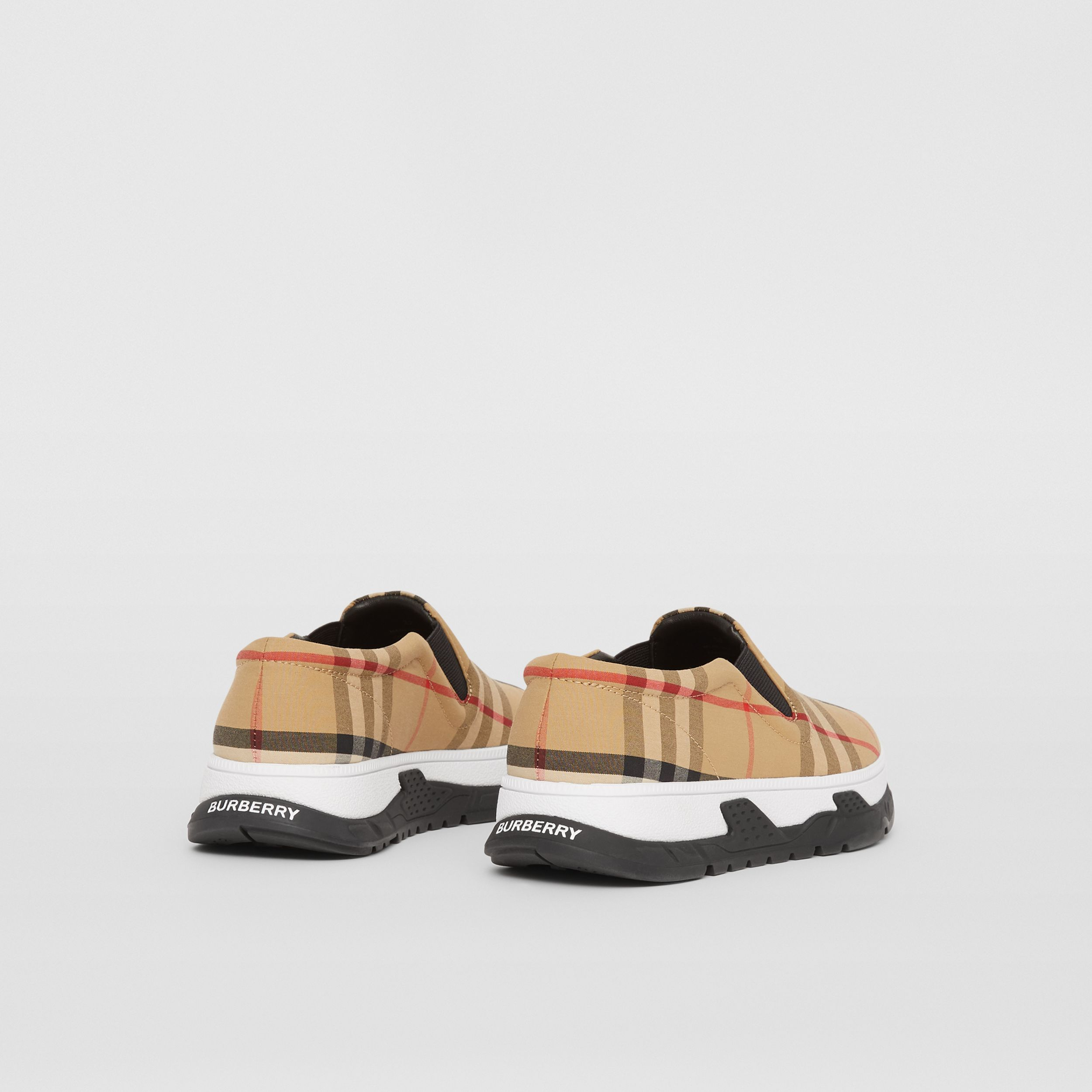 Vintage Check Cotton Slip-on Sneakers in Archive Beige - Children | Burberry Canada - 3