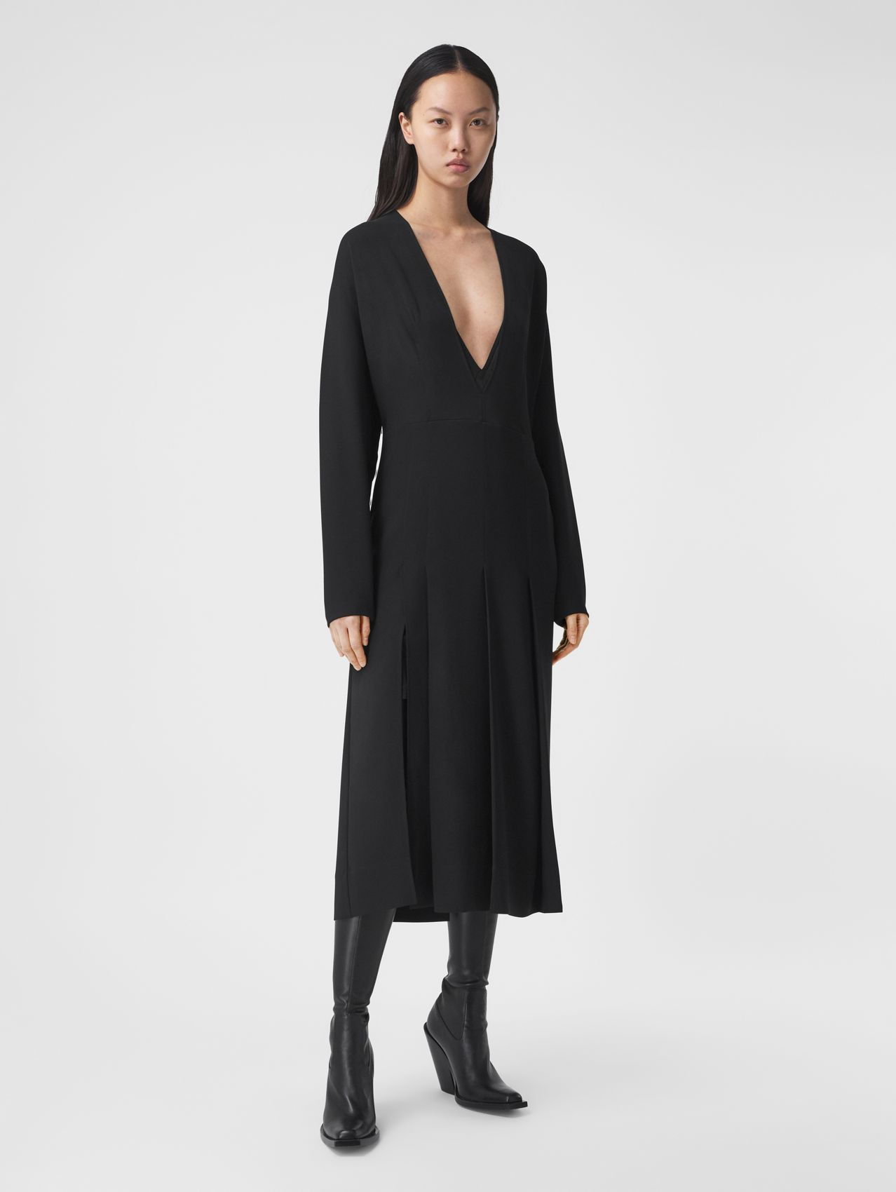 Pleated Silk Cady Dress with Detachable Slip in Black