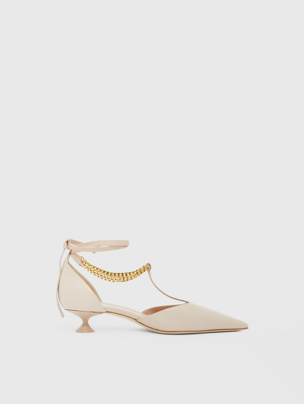Chain Detail Lambskin Pumps in Nude