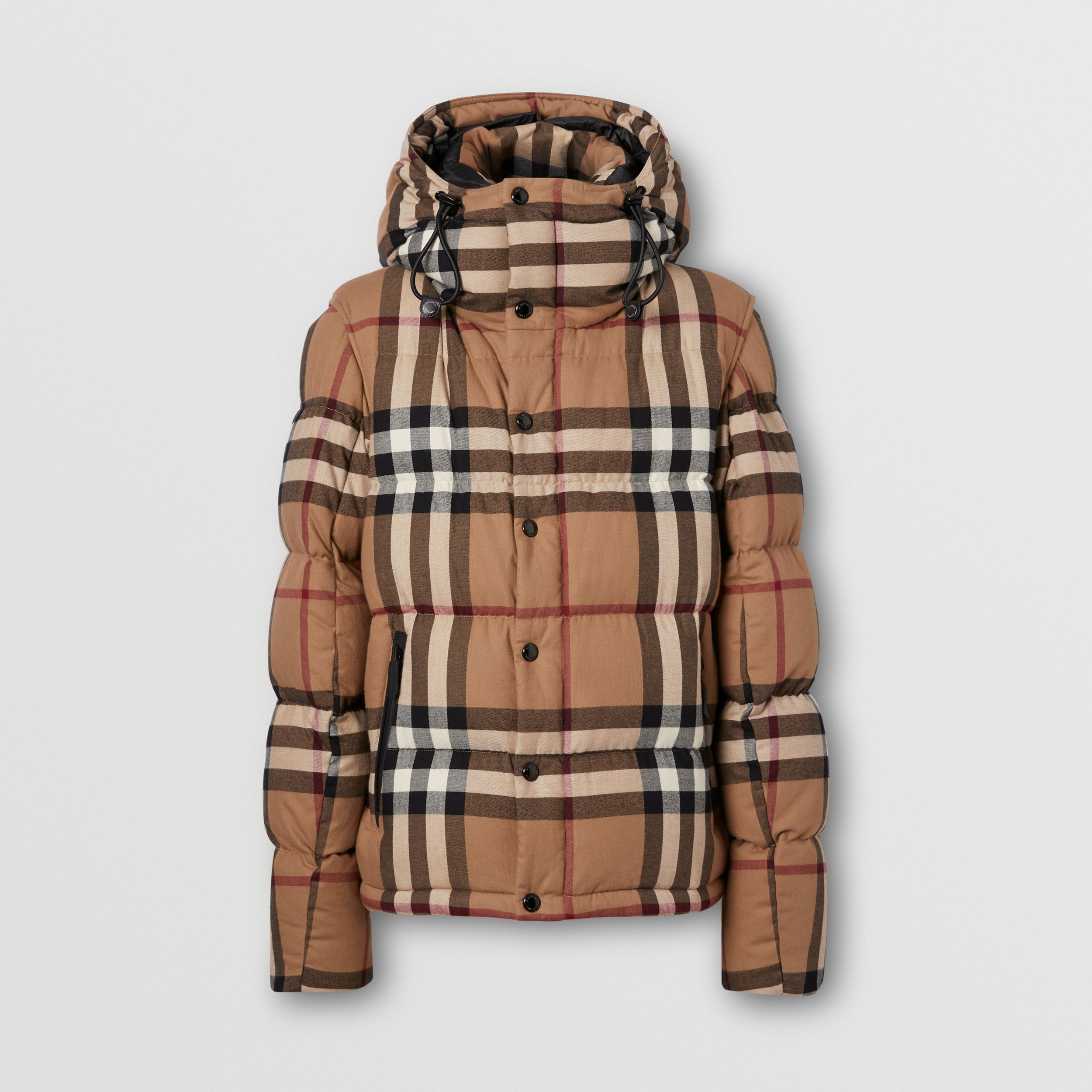 Detachable Sleeve Check Cotton Hooded Puffer Jacket in Birch Brown - Men | Burberry - 4