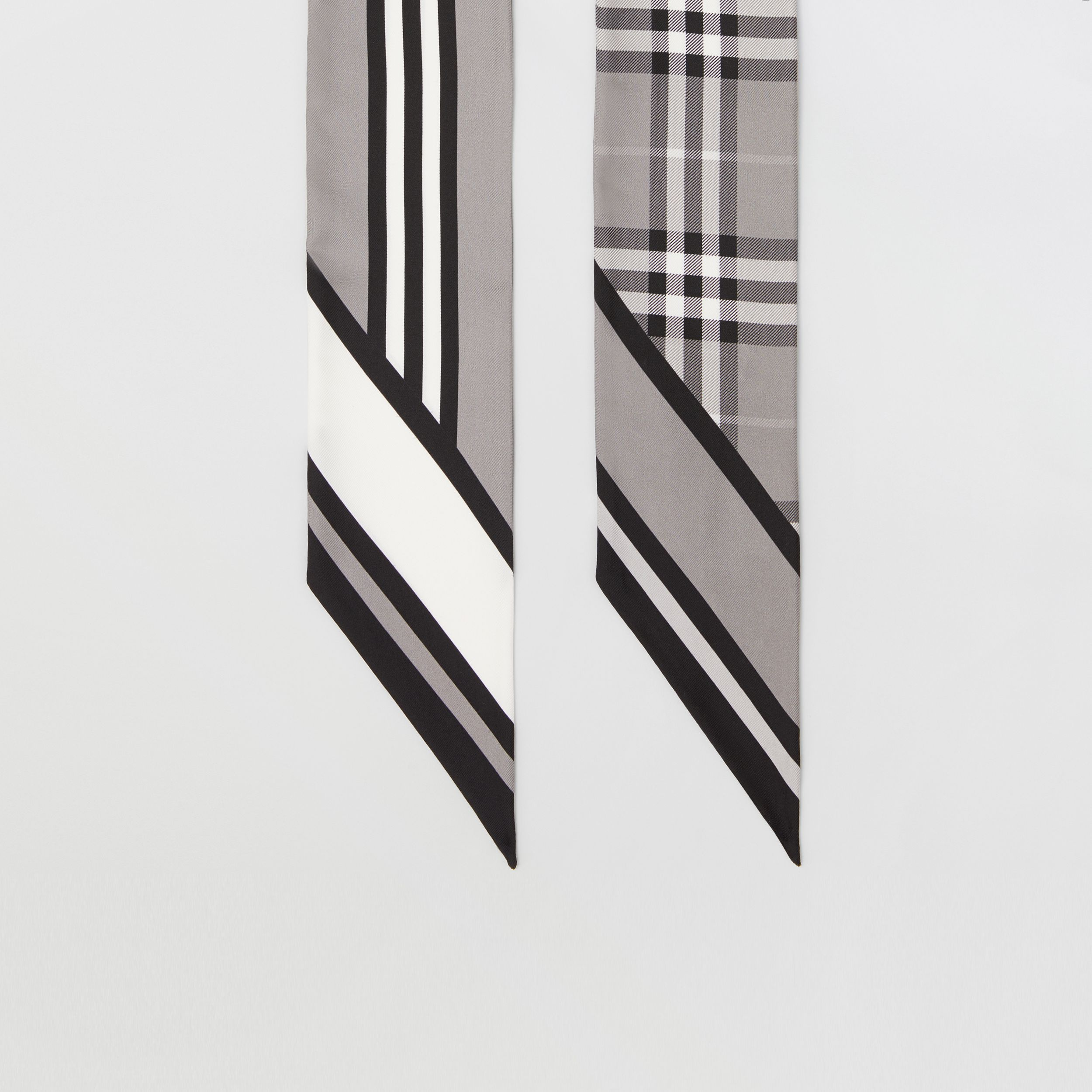 Montage Print Silk Skinny Scarf in Monochrome | Burberry Hong Kong S.A.R. - 4