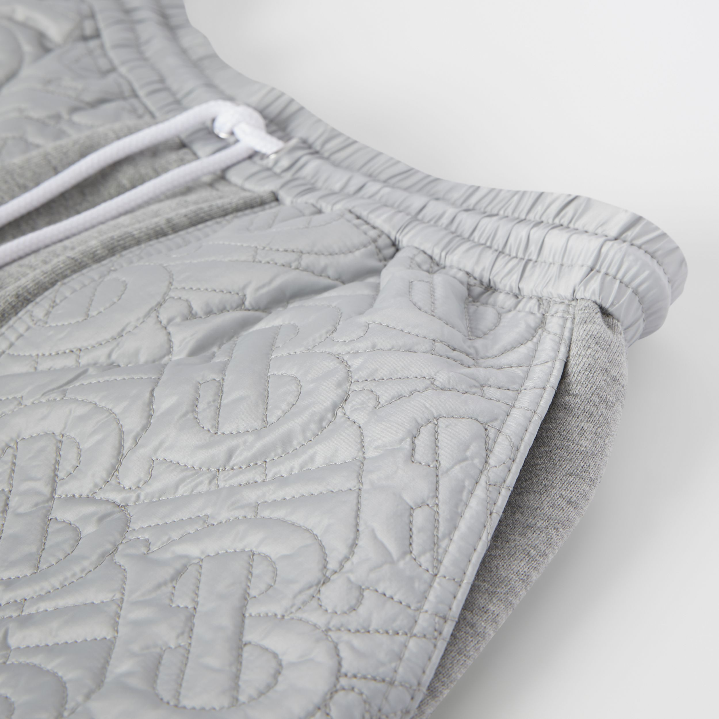 Monogram Quilted Panel Cotton Shorts in Grey Melange | Burberry - 2