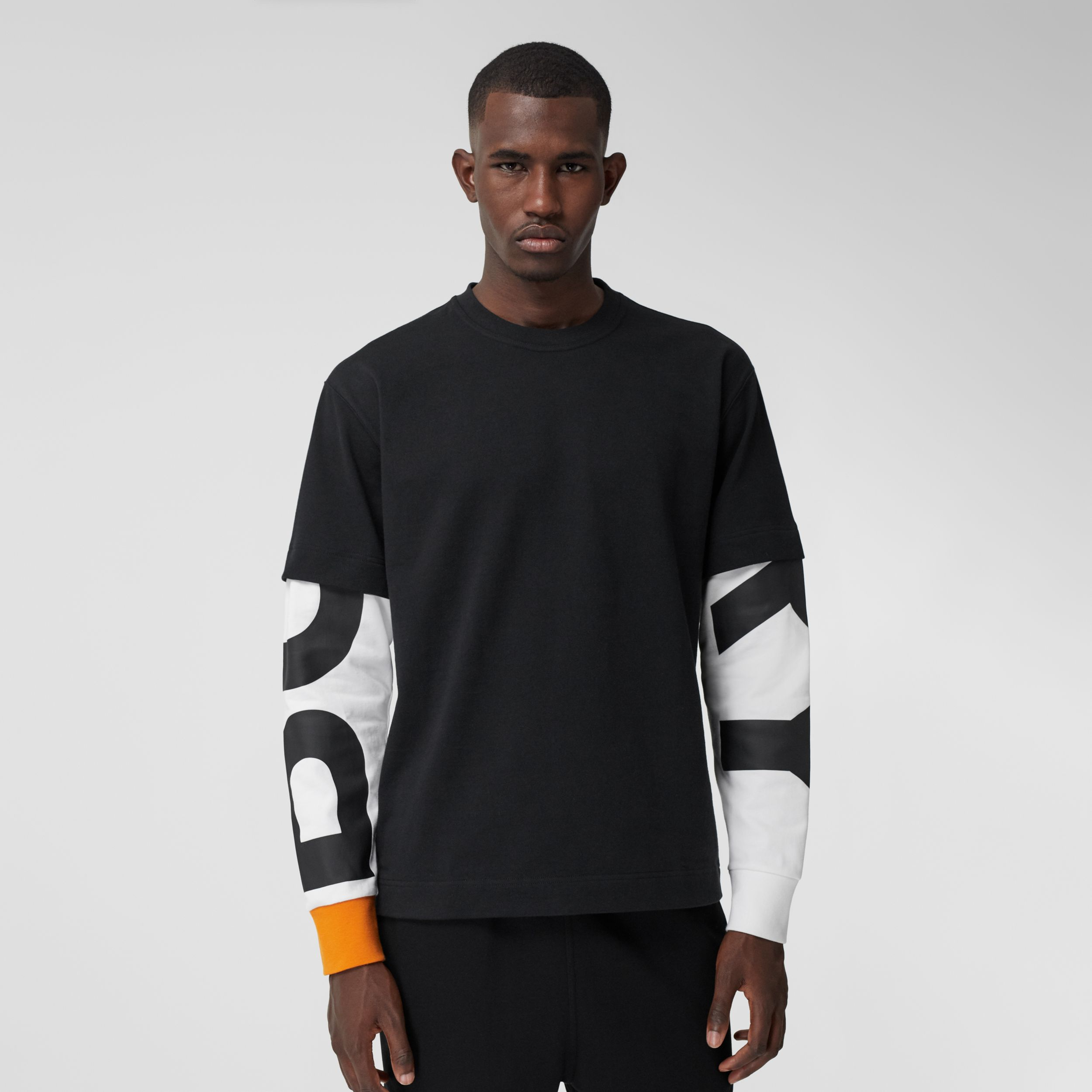 Logo Print Sleeve Cotton T-shirt in Black - Men | Burberry Canada - 1