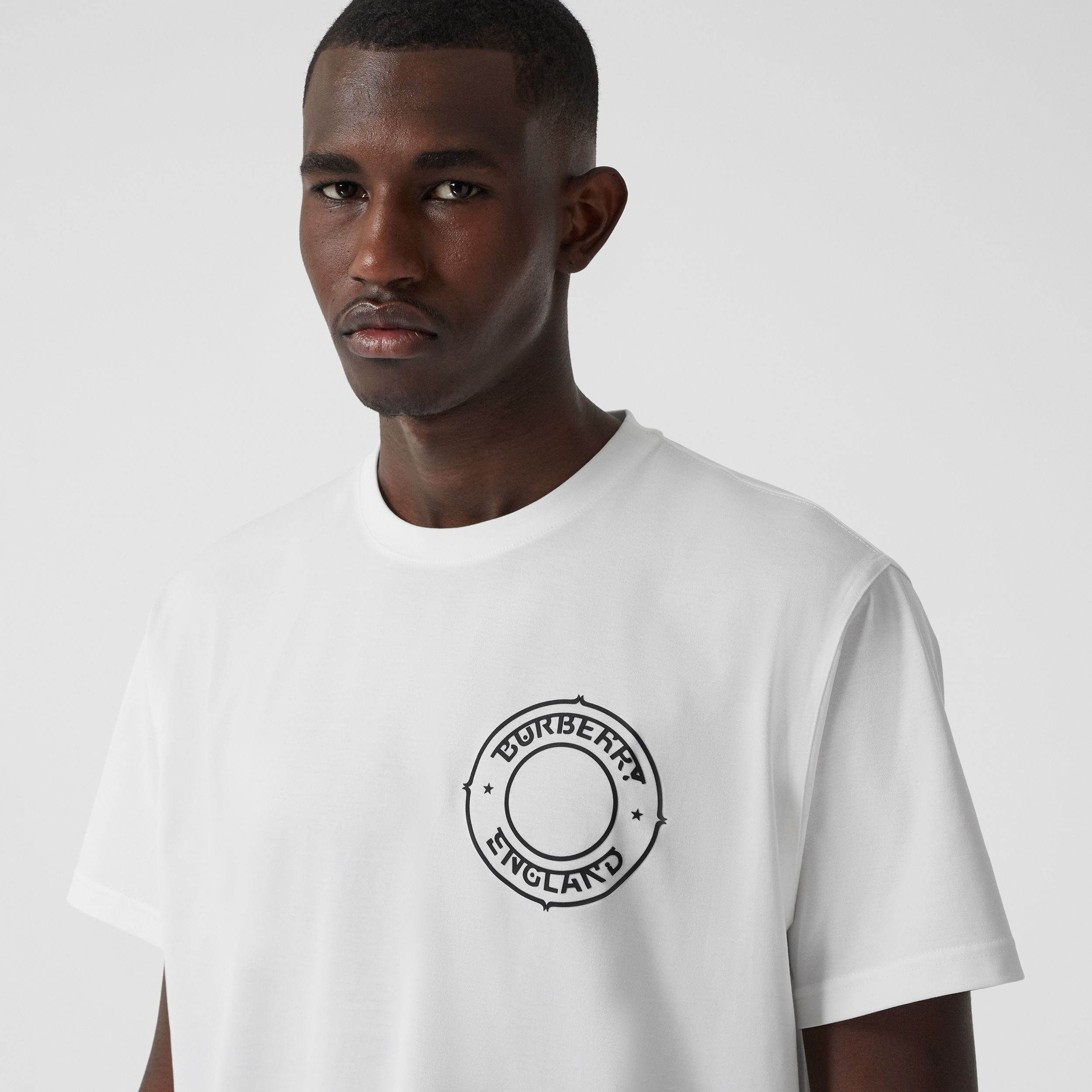 Logo Graphic Cotton Oversized T-shirt in White - Men | Burberry United Kingdom - 2