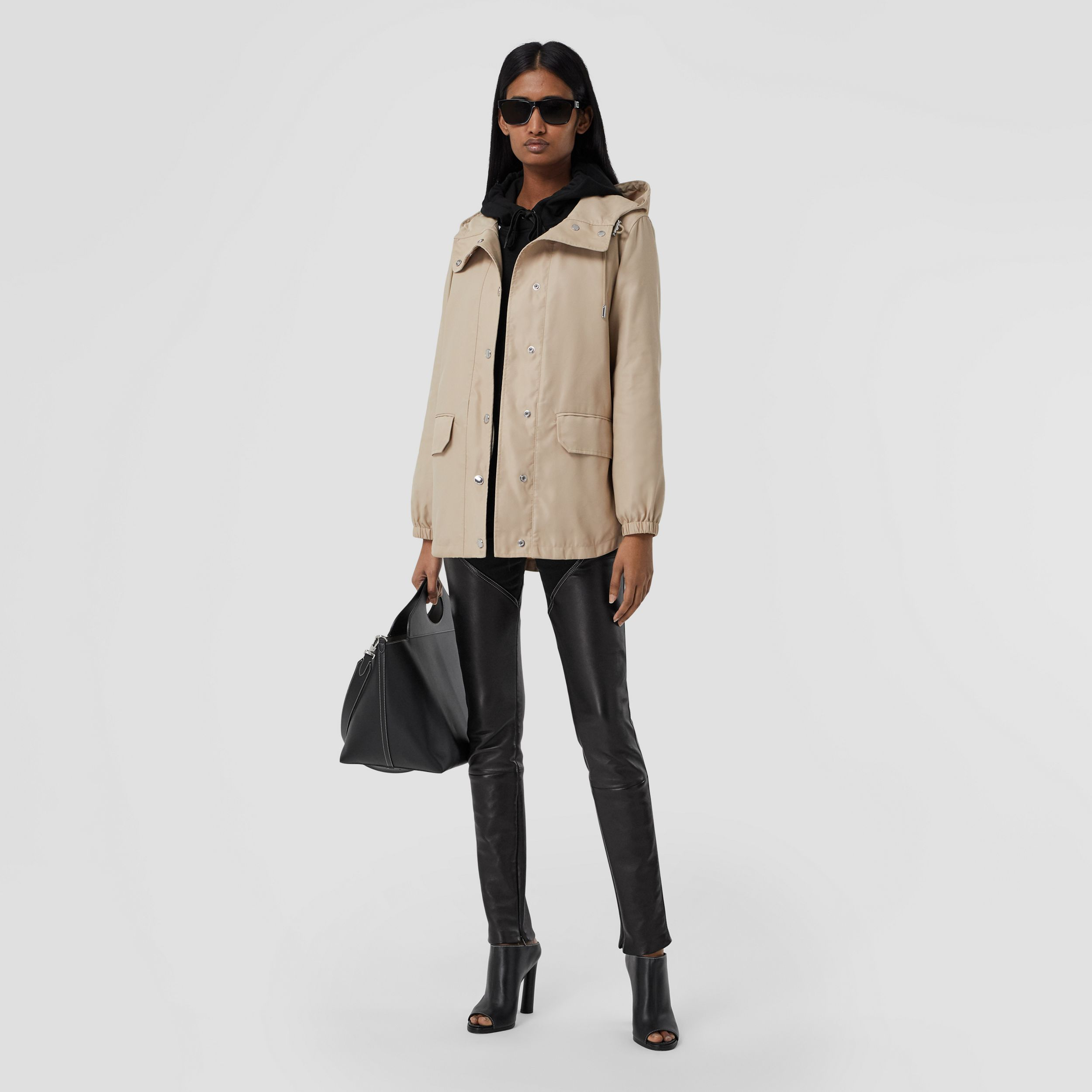 Horseferry Print Lightweight Hooded Parka in Soft Fawn - Women | Burberry - 1