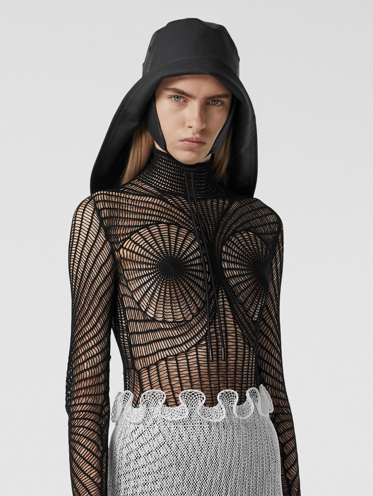 Technical Cotton Fishnet Turtleneck Top in Black