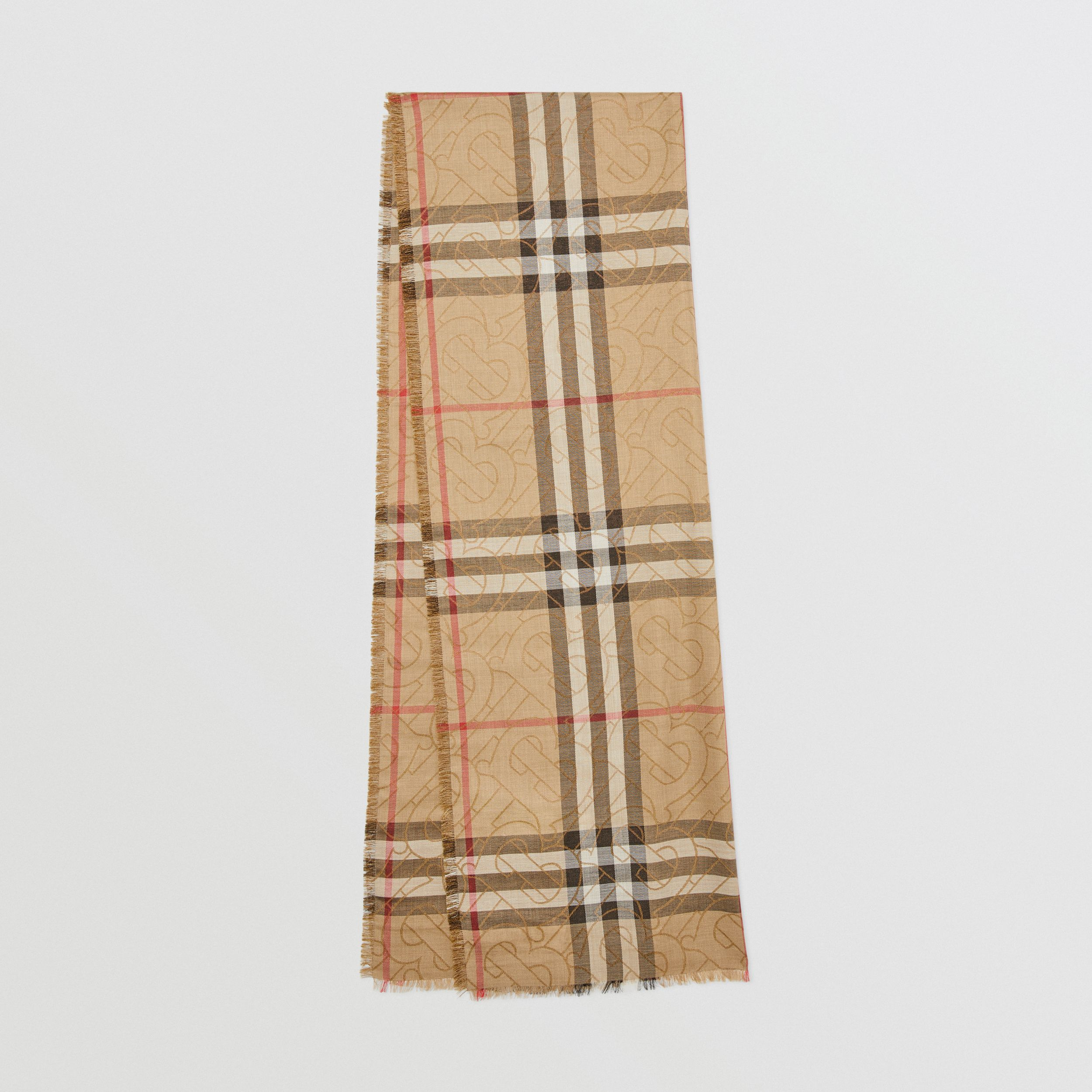 Metallic Monogram Lightweight Check Silk Wool Scarf in Archive Beige | Burberry - 1