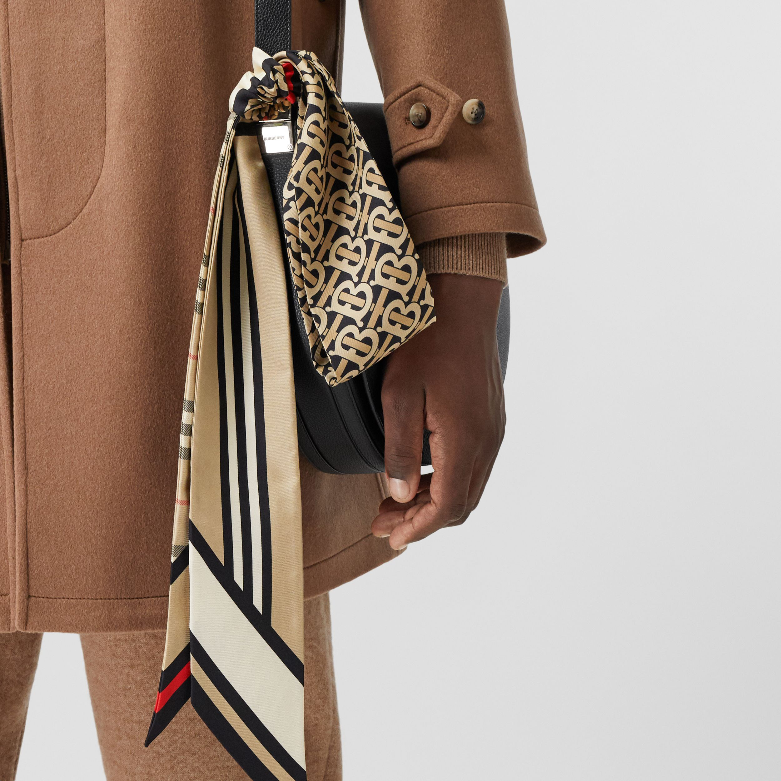 Montage Print Silk Skinny Scarf in Archive Beige | Burberry - 4