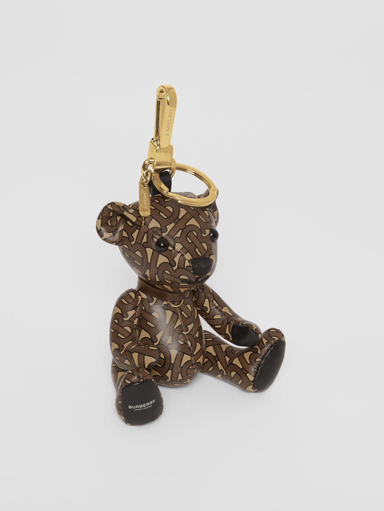 Thomas Bear Charm in Monogram Print Leather in Bridle Brown