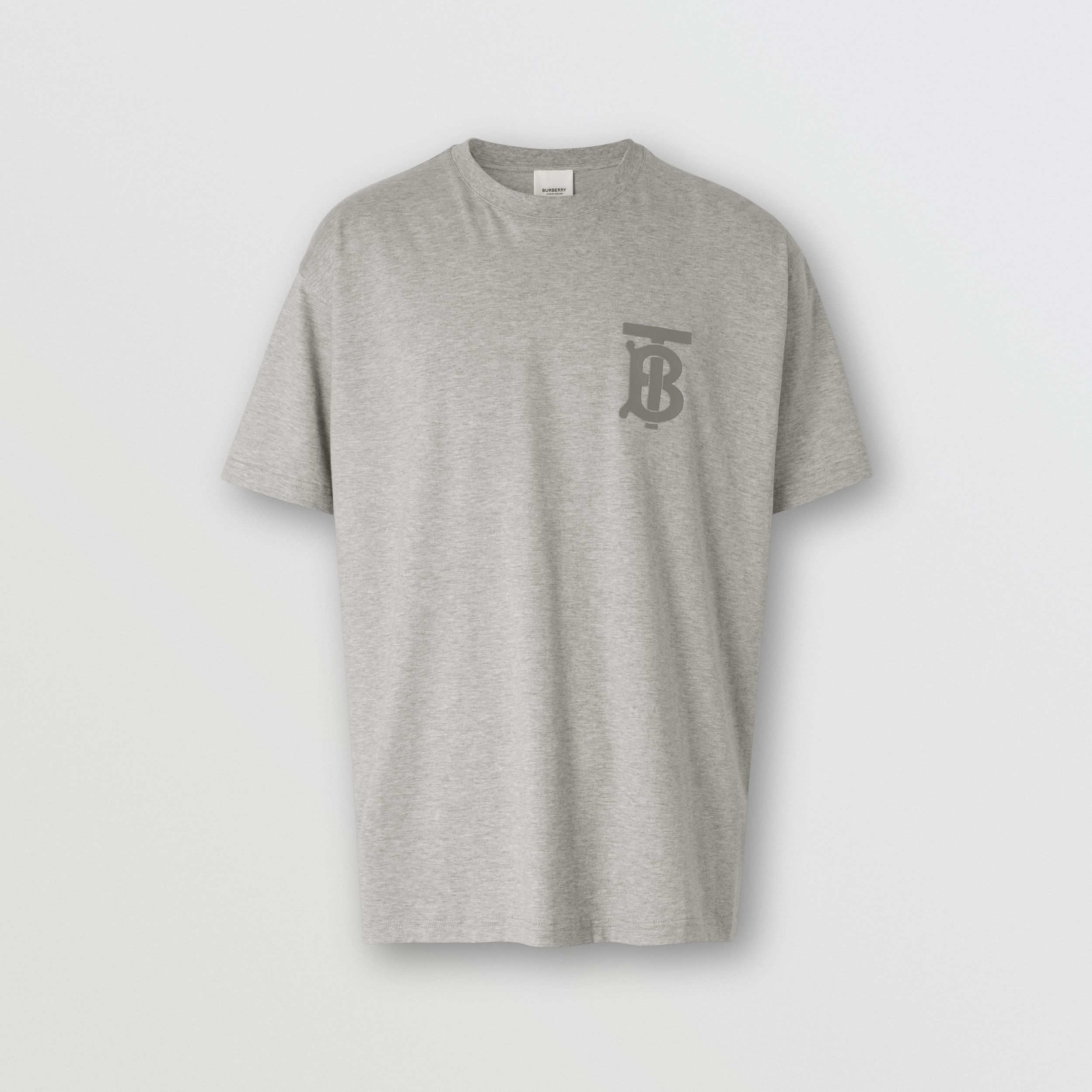 Monogram Motif Cotton Oversized T-shirt in Pale Grey Melange - Men | Burberry Hong Kong S.A.R. - 4