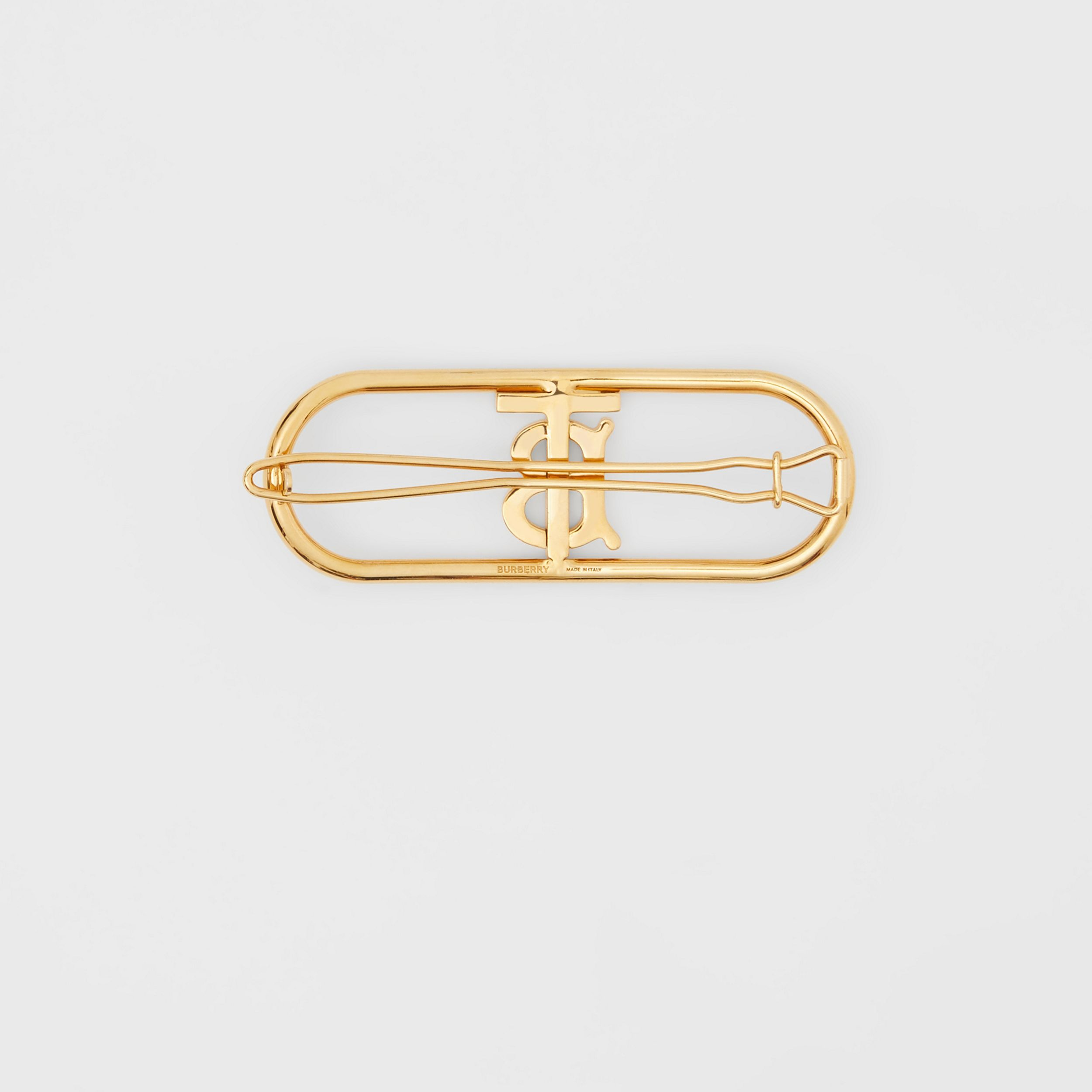 Gold-plated Monogram Motif Hair Clip in Light - Women | Burberry - 4