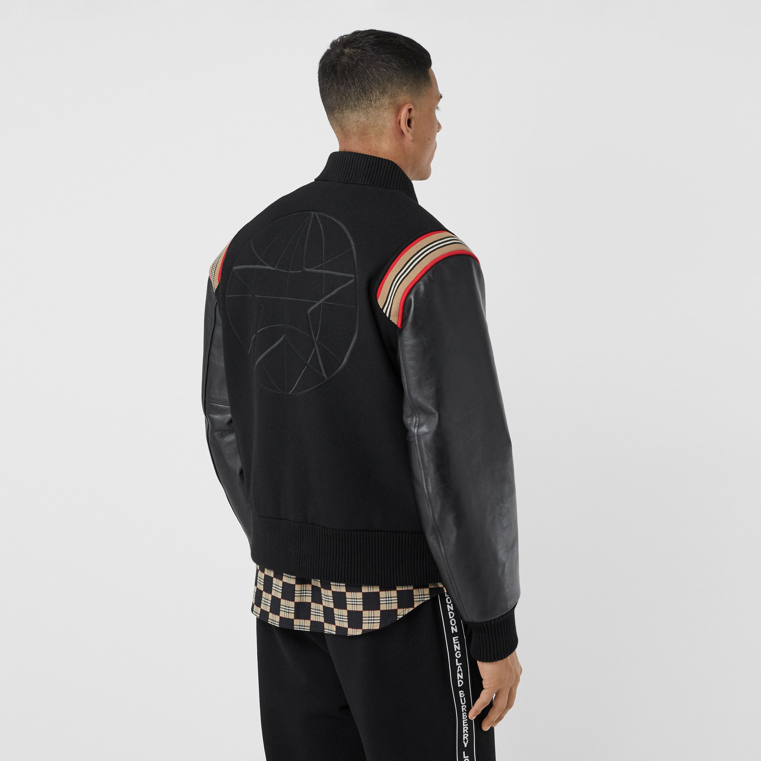 Icon Stripe Trim Wool Felt and Leather Bomber Jacket - Men | Burberry - 3