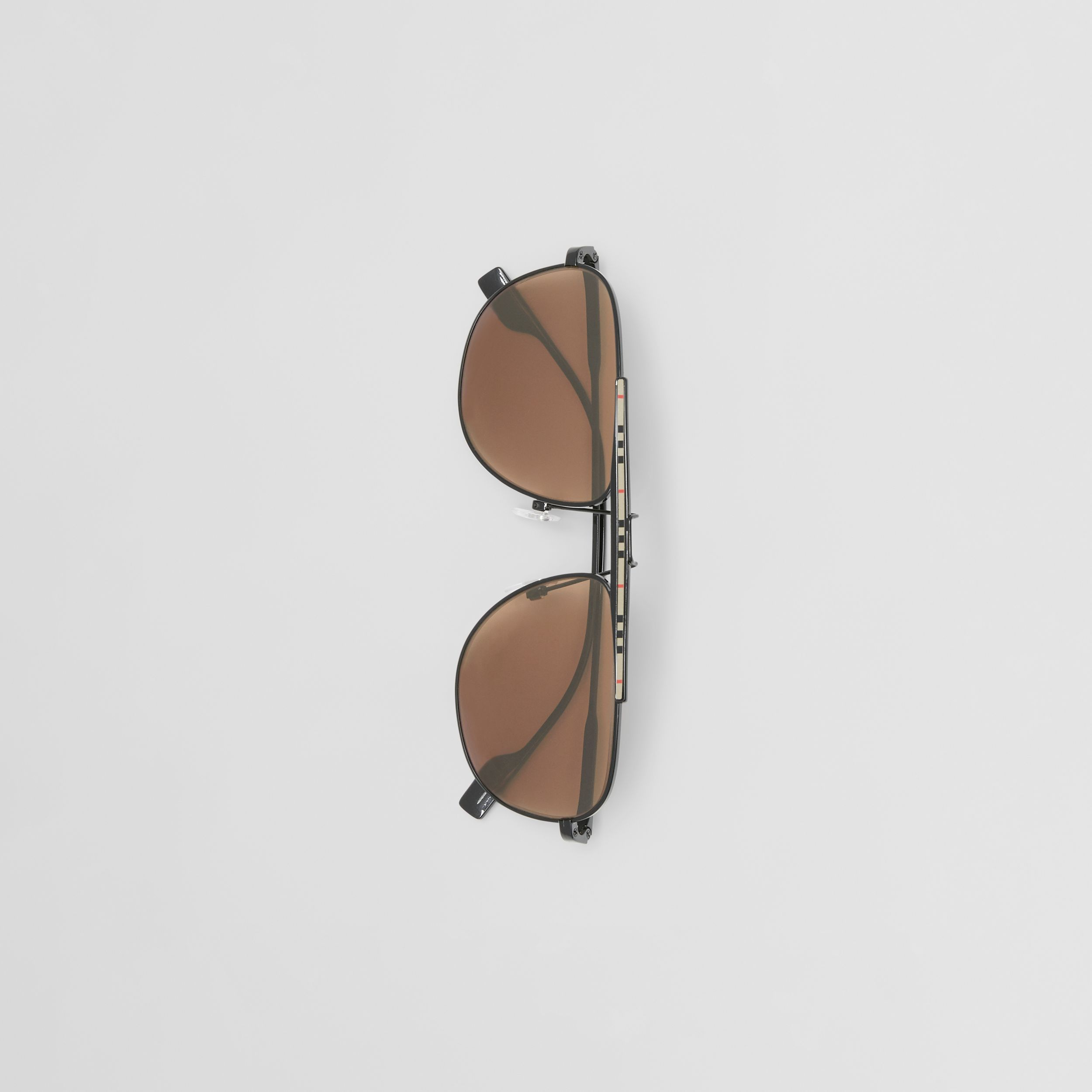 Icon Stripe Detail Pilot Sunglasses in Black - Men | Burberry - 4