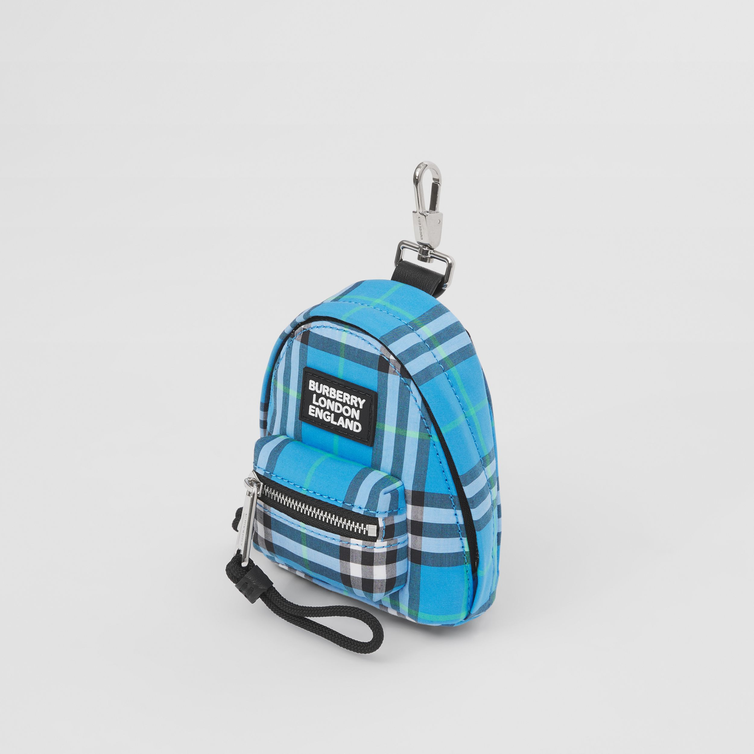 Vintage Check Cotton Backpack Charm in Azure Blue - Men | Burberry United Kingdom - 4