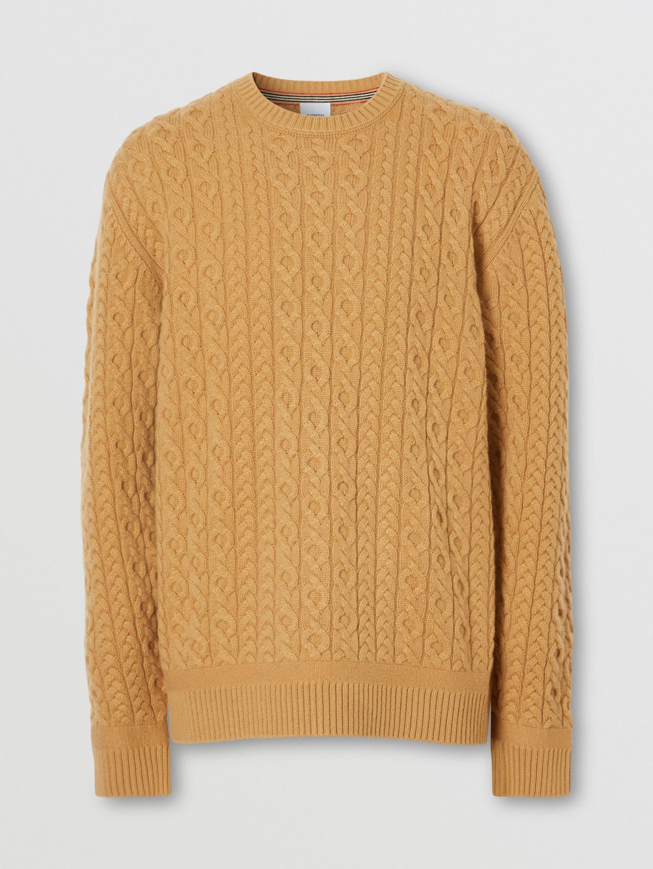 Cable Knit Wool Cashmere Sweater in Camel