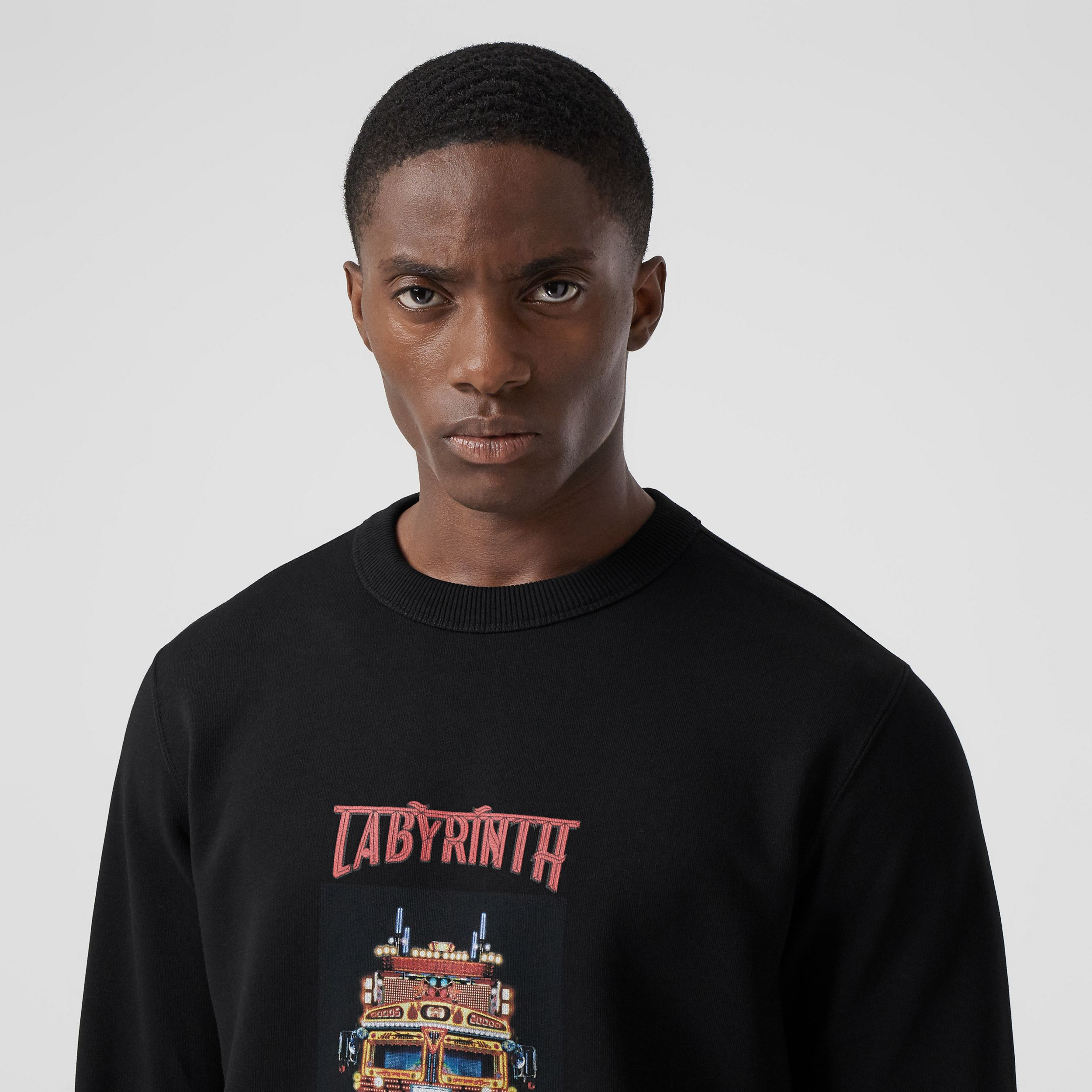 Slogan Print Cotton Sweatshirt in Black | Burberry - 2