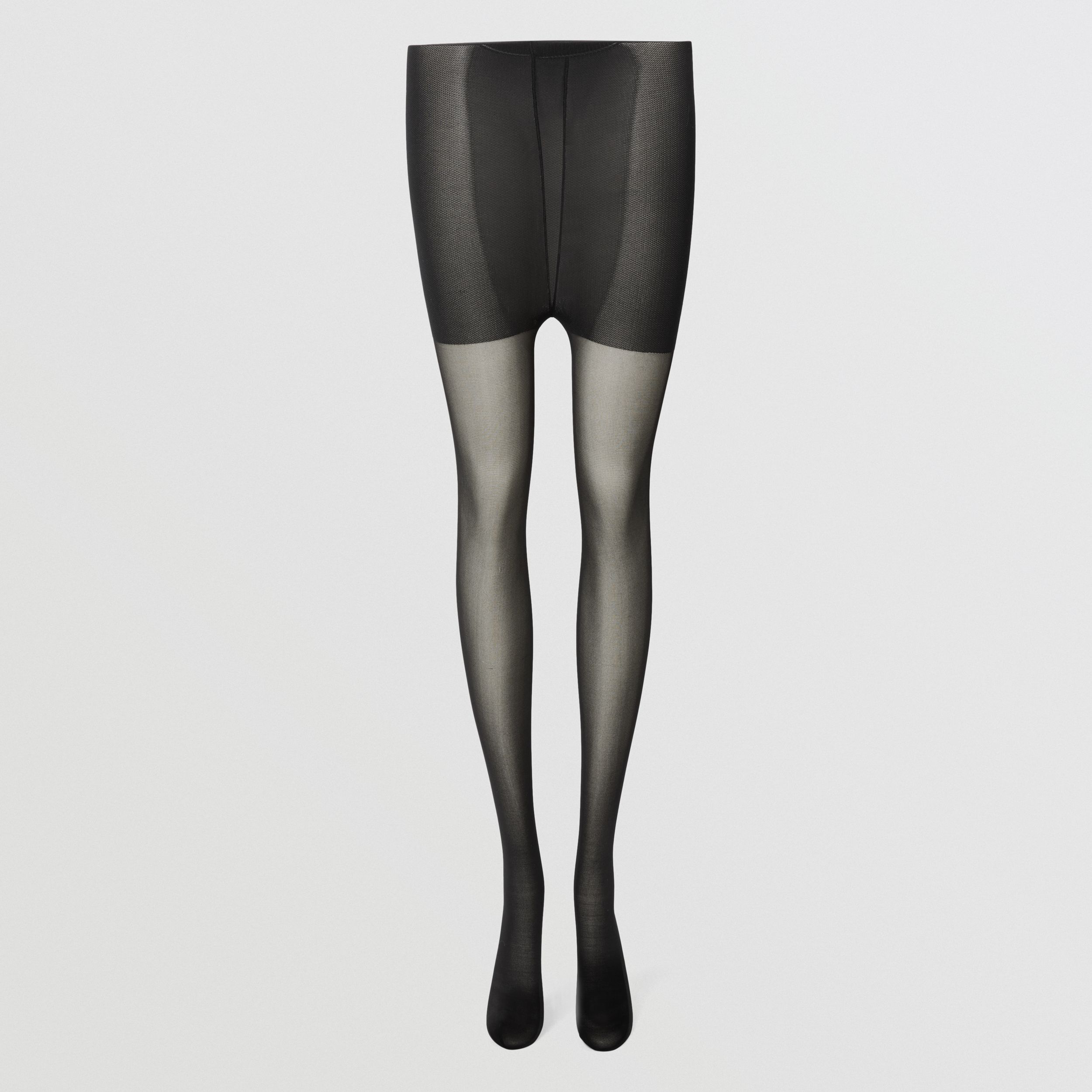 Crystal Monogram Motif Seamed Tights in Black | Burberry - 1