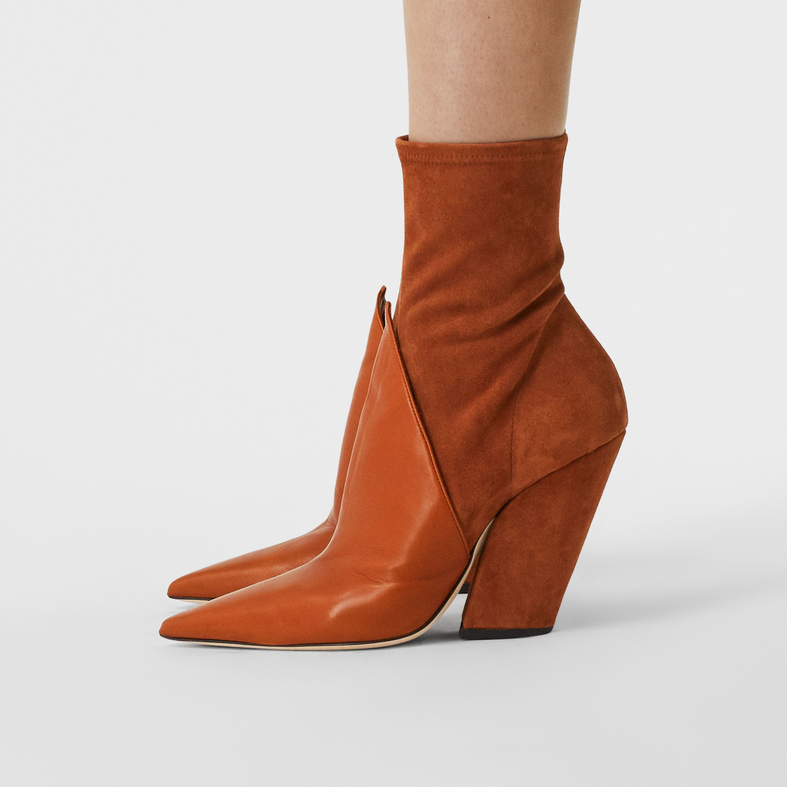 Panelled Suede and Lambskin Ankle Boots in Nutmeg - Women | Burberry - 3