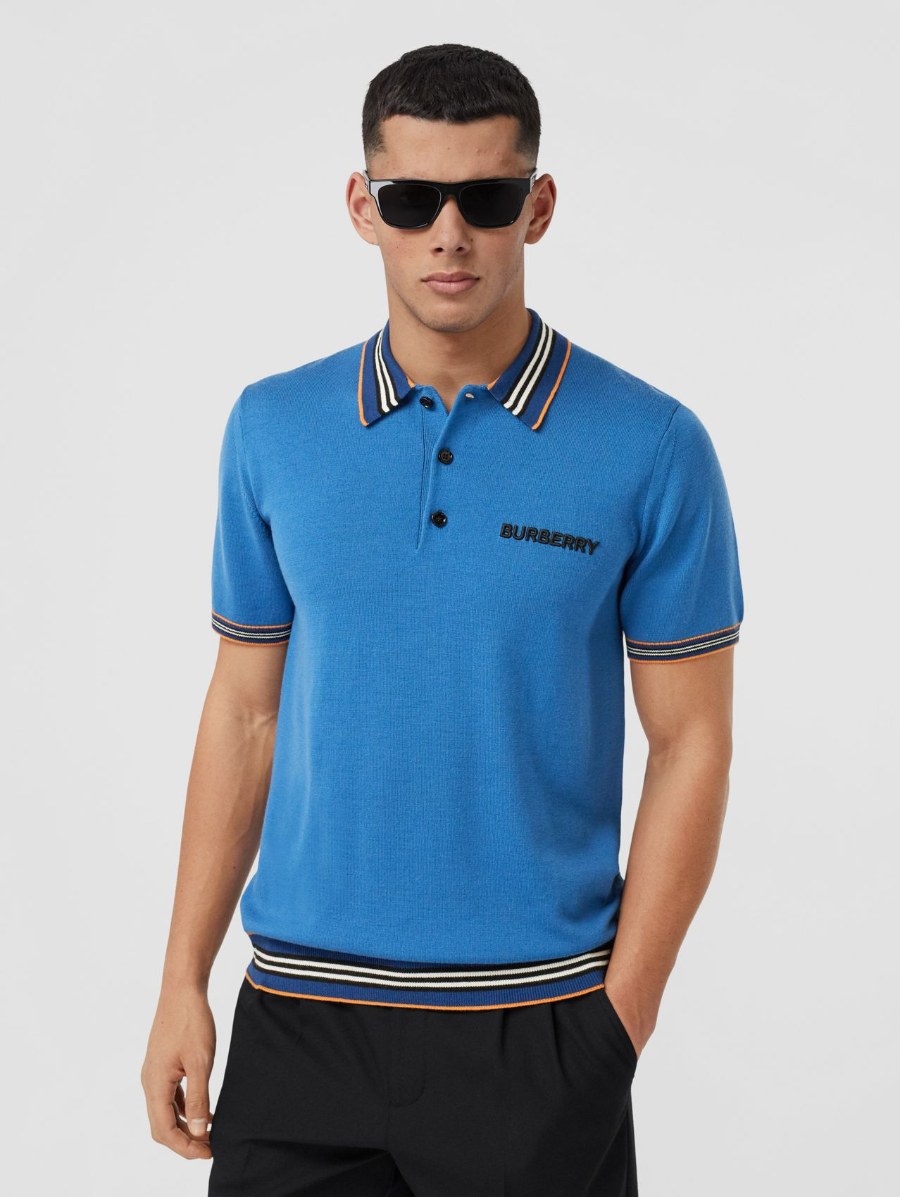 Icon Stripe Detail Merino Wool Polo Shirt in Warm Royal Blue