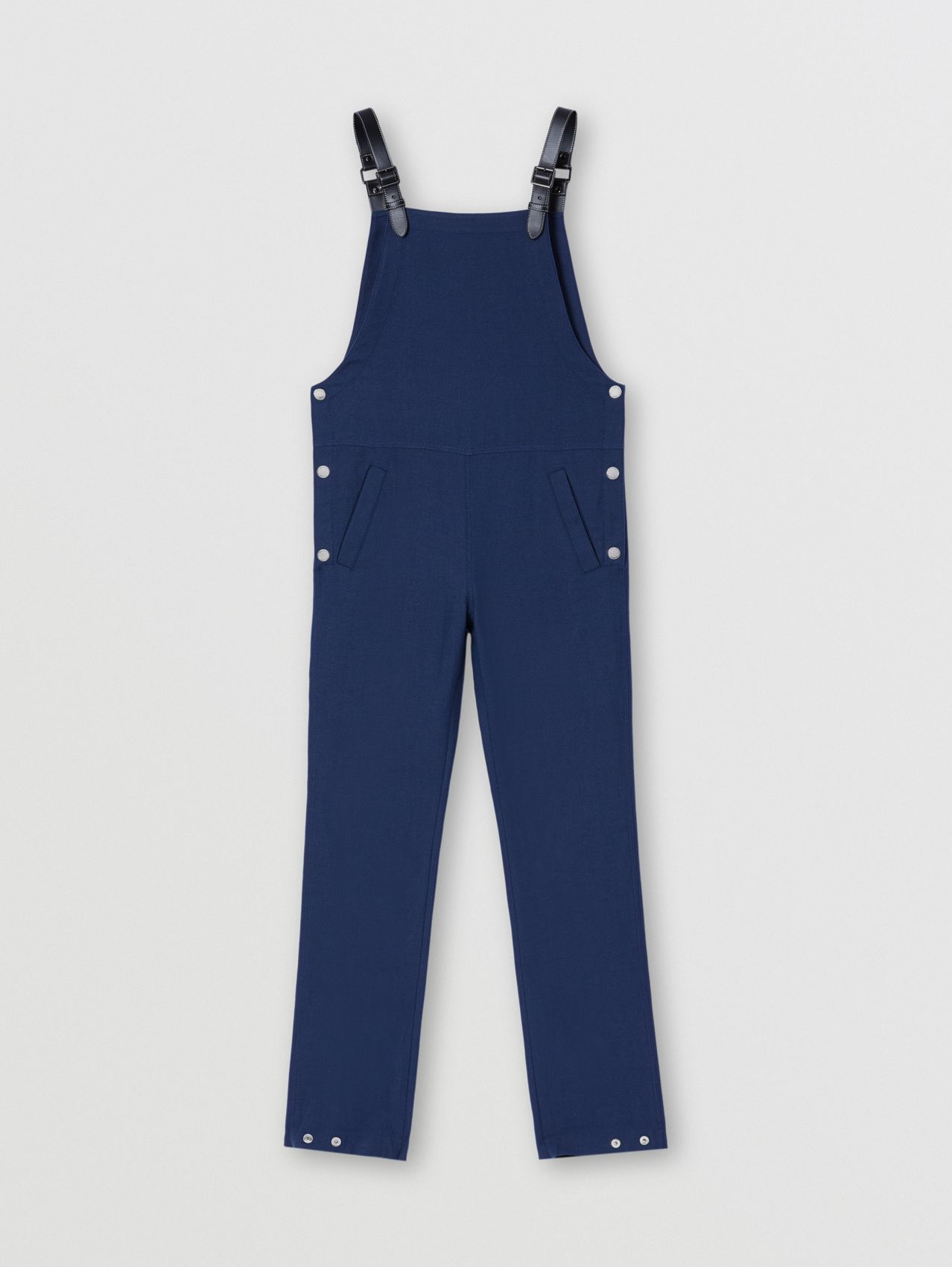 Wool Ramie Bib-front Trousers in Dark Canvas Blue