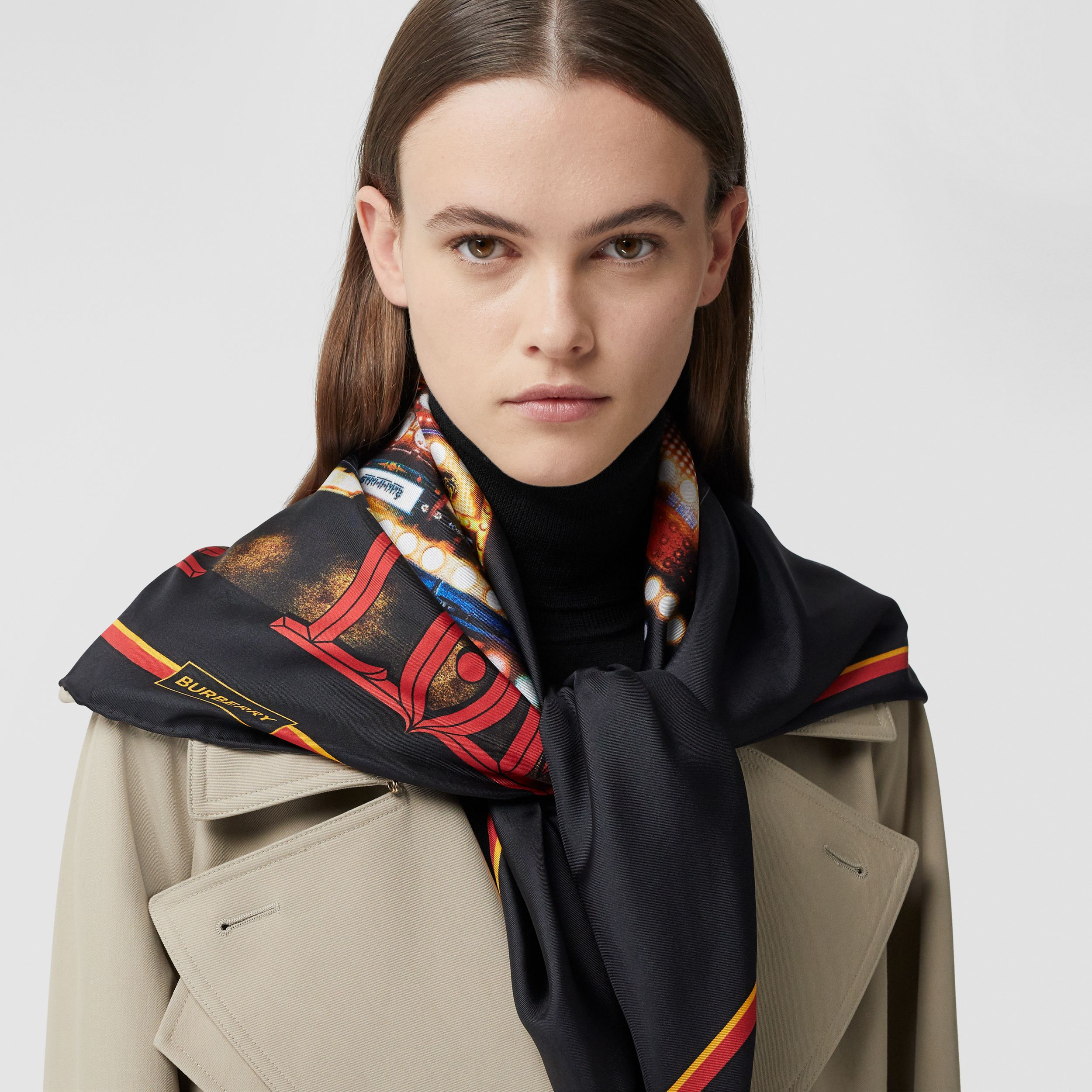 Photo Print Silk Square Scarf in Black | Burberry - 3