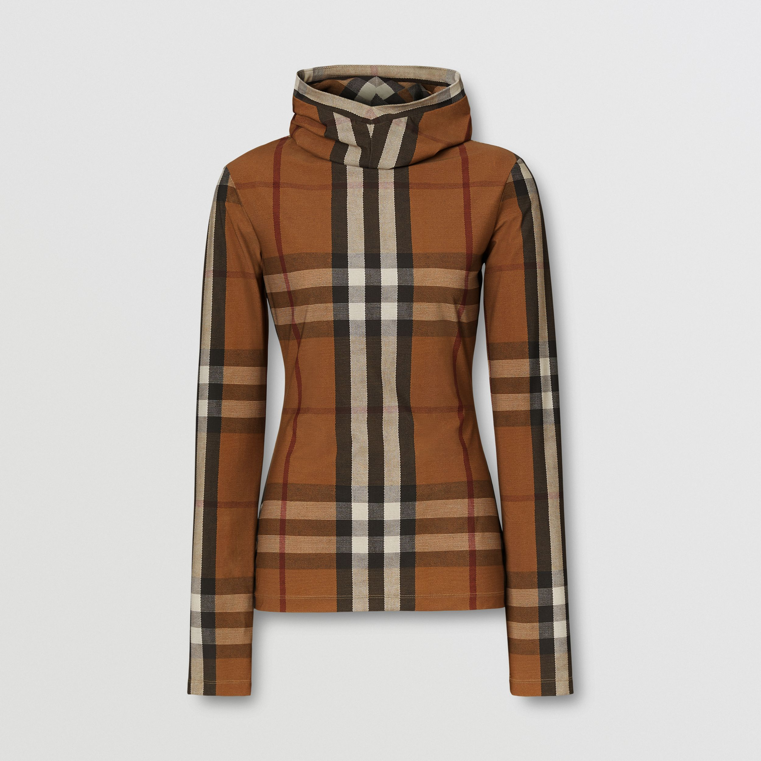 Check Stretch Jersey Hooded Top in Birch Brown - Women | Burberry - 4