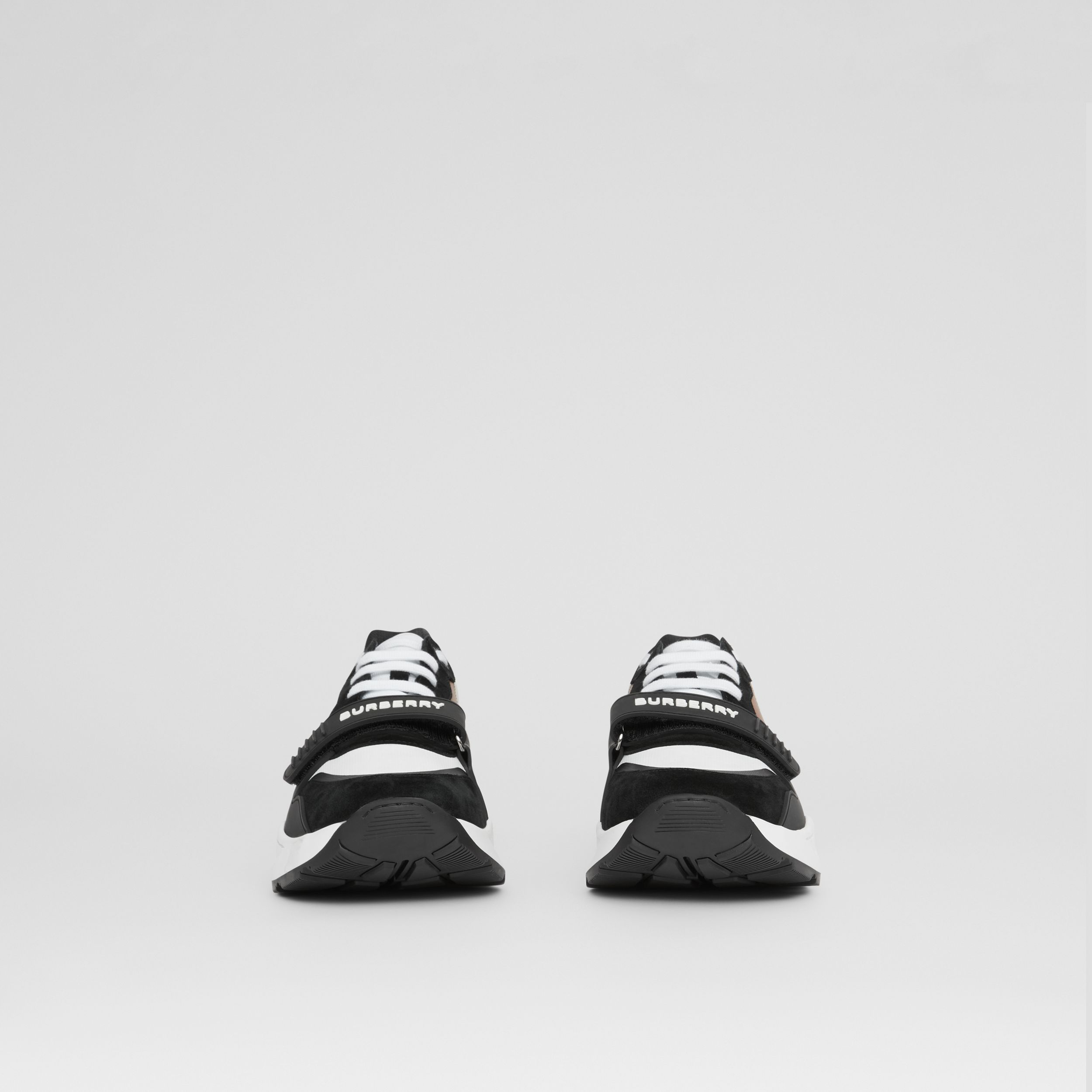 Leather, Suede and Vintage Check Sneakers in Black/archive Beige - Men | Burberry - 4