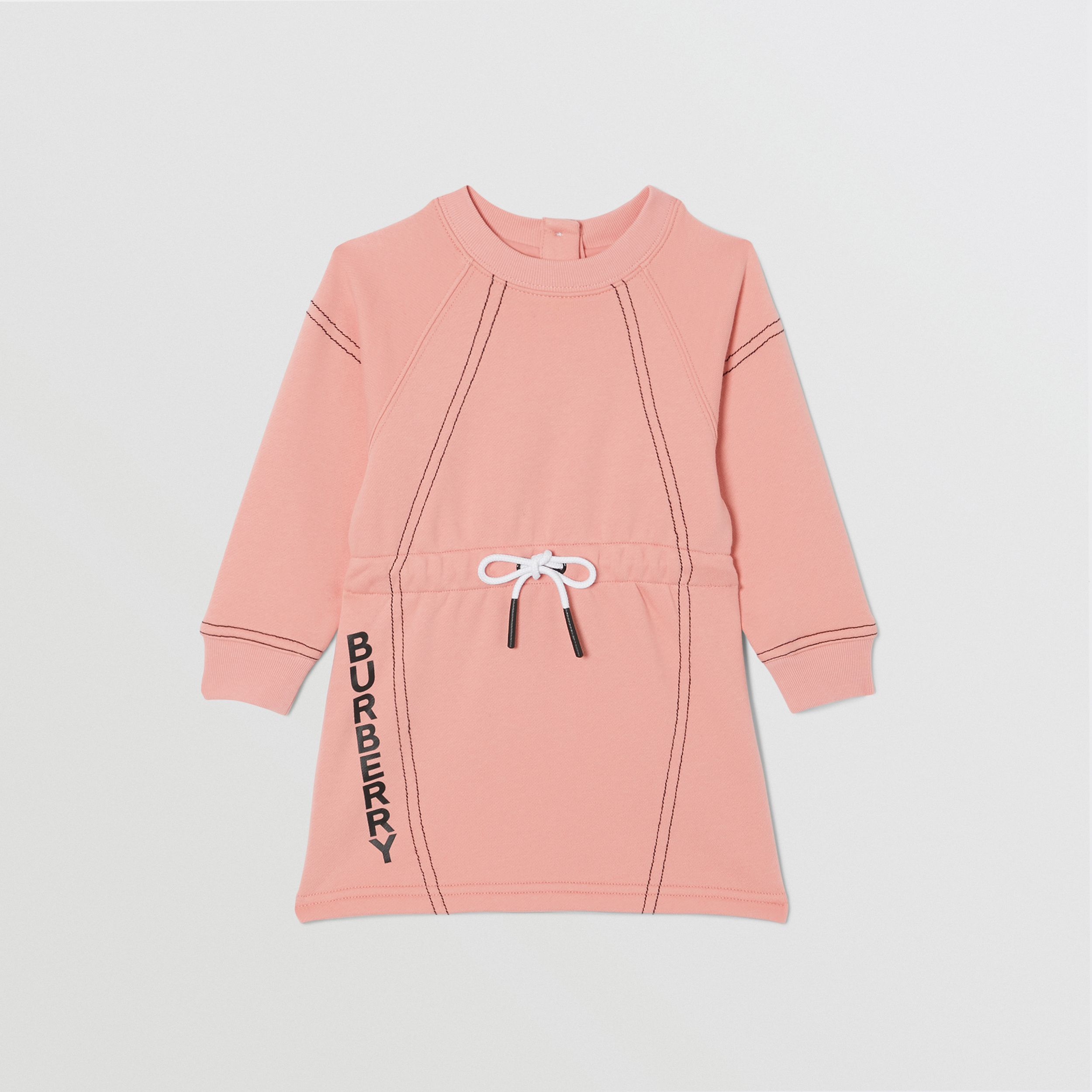 Logo Print Cotton Sweater Dress in Peach - Children | Burberry - 1
