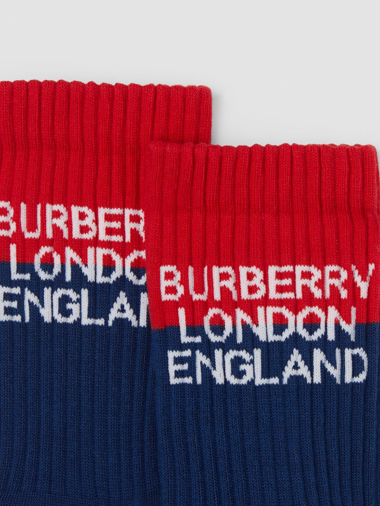 Logo Intarsia Technical Stretch Cotton Socks in Navy/red