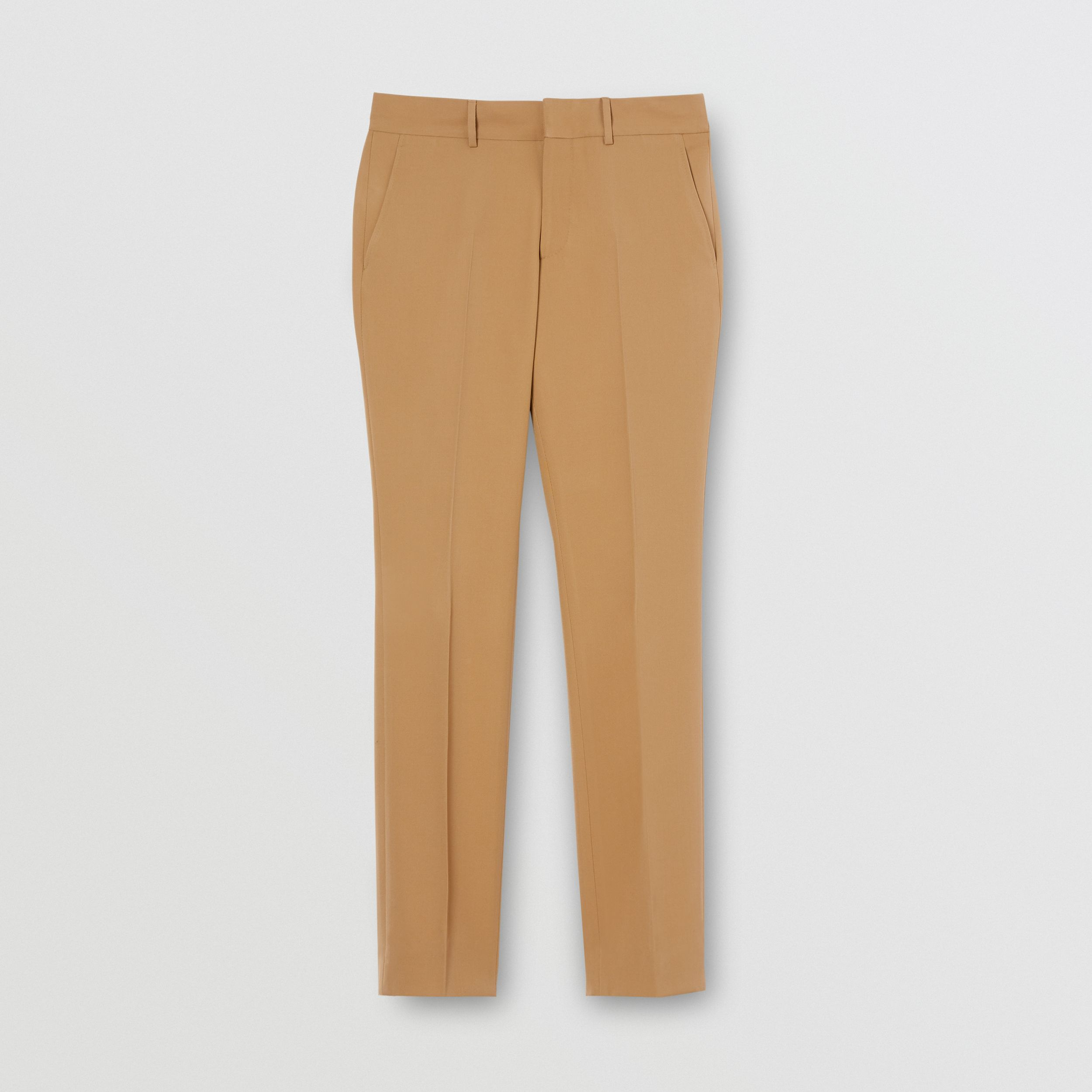 Dry Wool Twill Tailored Trousers in Dark Tan | Burberry - 4