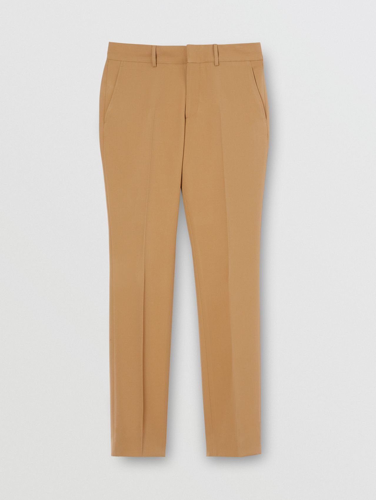 Dry Wool Twill Tailored Trousers in Dark Tan