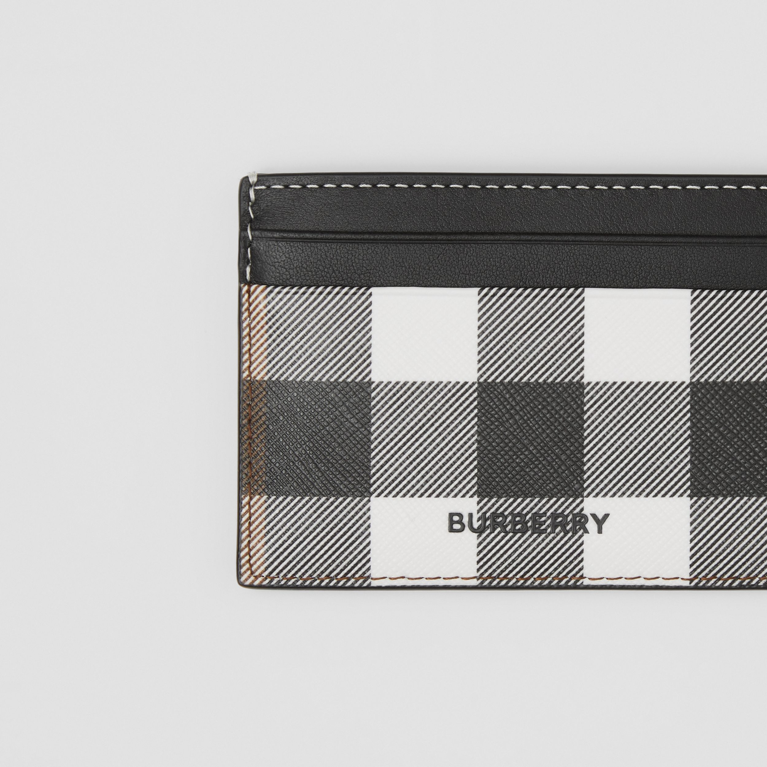Check E-canvas and Leather Card Case in Dark Birch Brown - Men | Burberry - 2