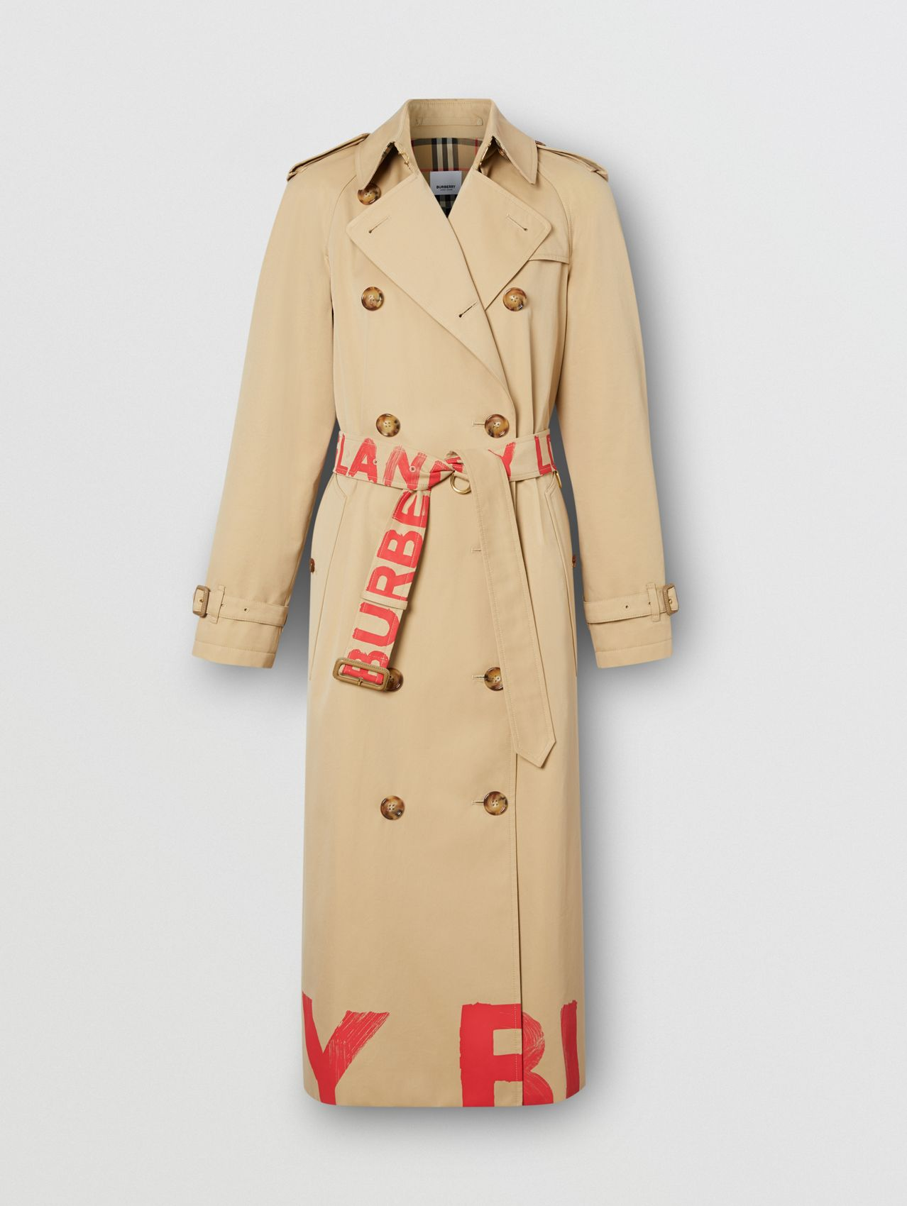 Logo Print Cotton Gabardine Trench Coat in Honey