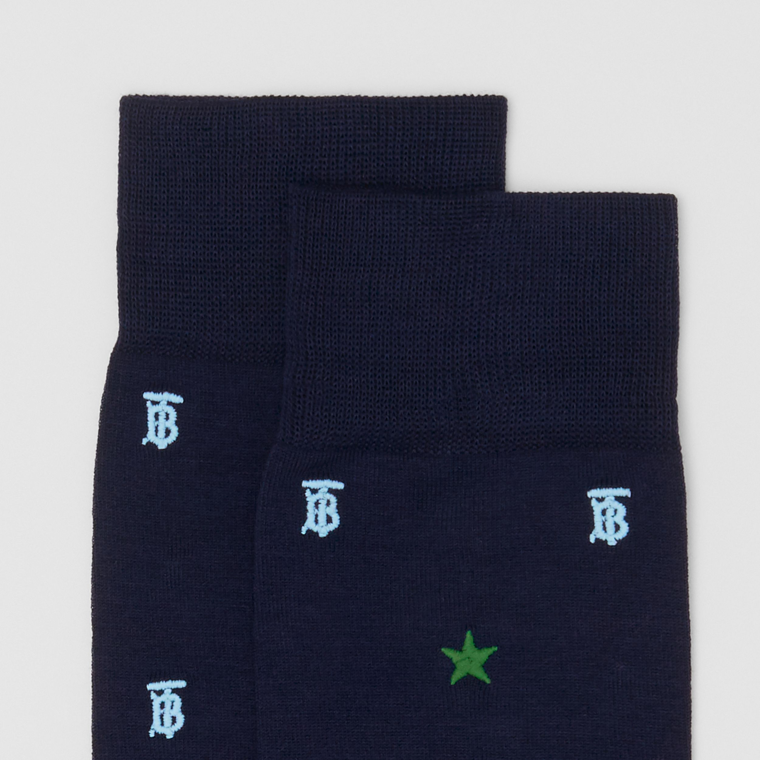 Star and Monogram Motif Cotton Blend Socks in Navy | Burberry - 2