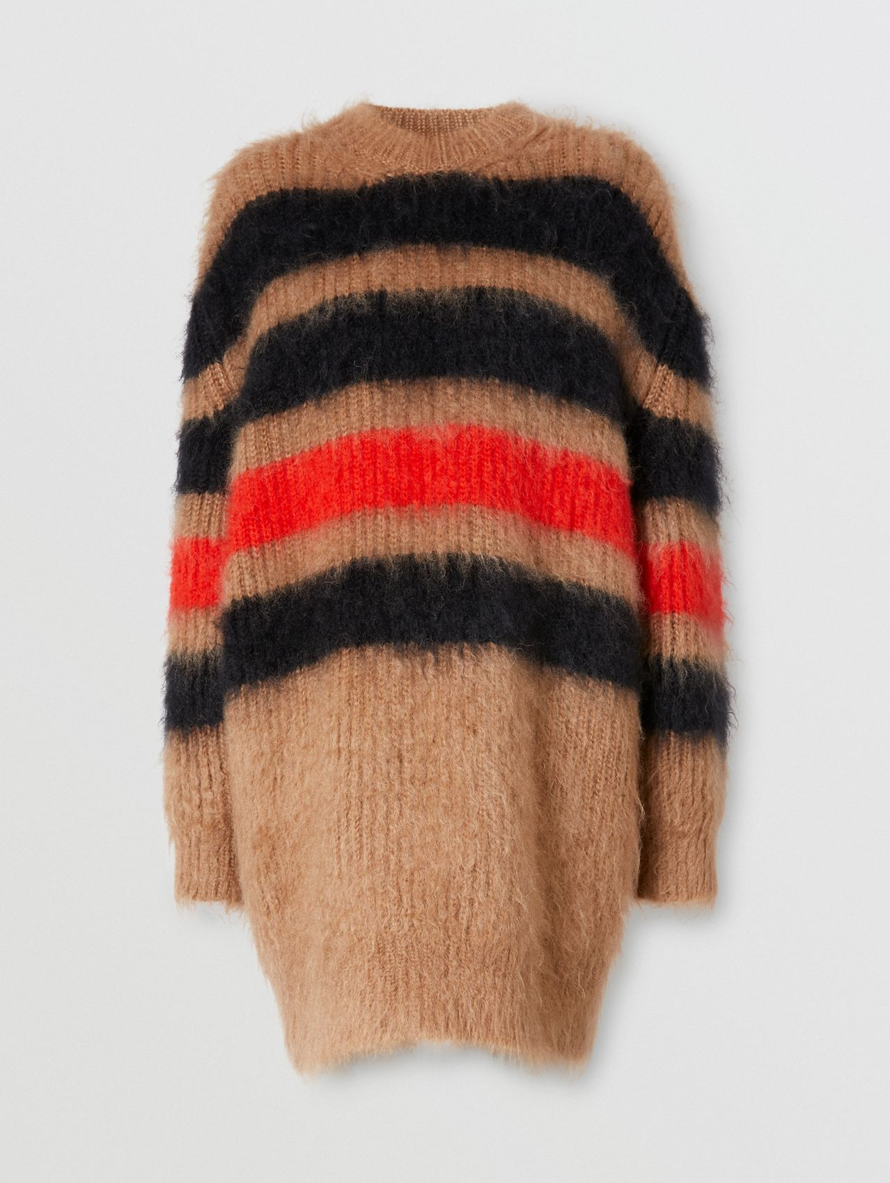 Stripe Intarsia Mohair Silk Oversized Sweater in Beige