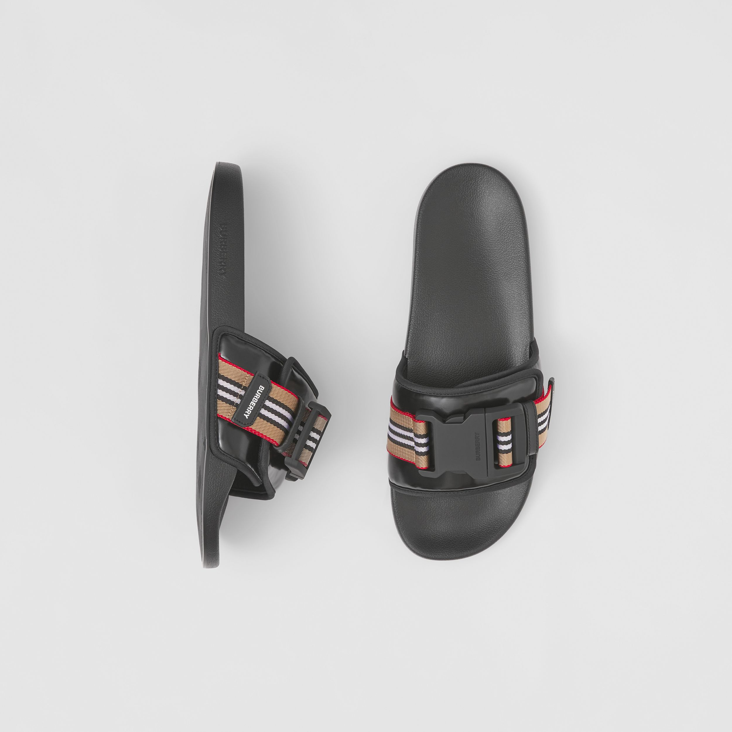 Icon Stripe Trim Coated Canvas Slides in Black - Men | Burberry - 1