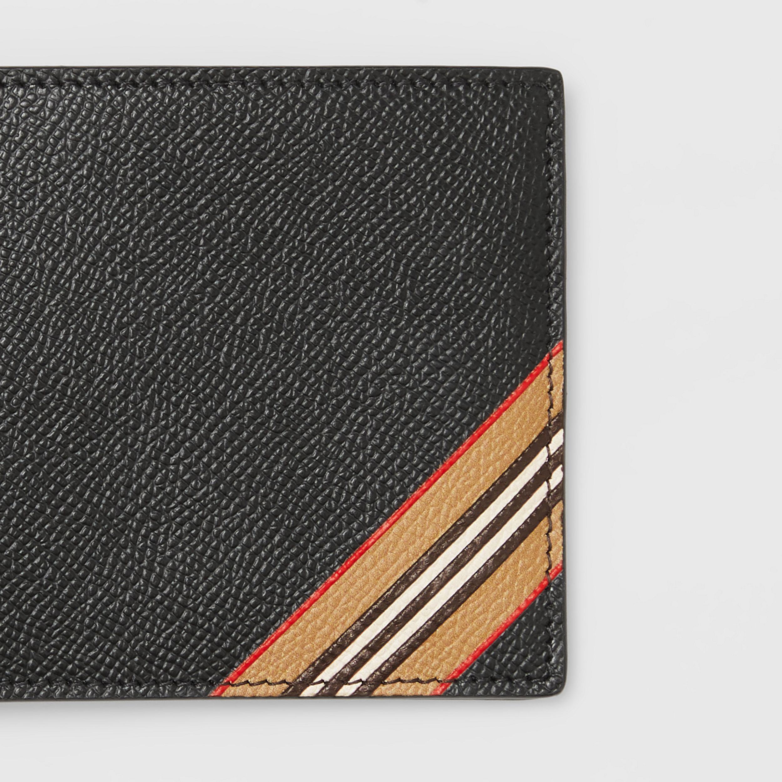 Icon Stripe Print Leather International Bifold Wallet in Black - Men | Burberry - 2