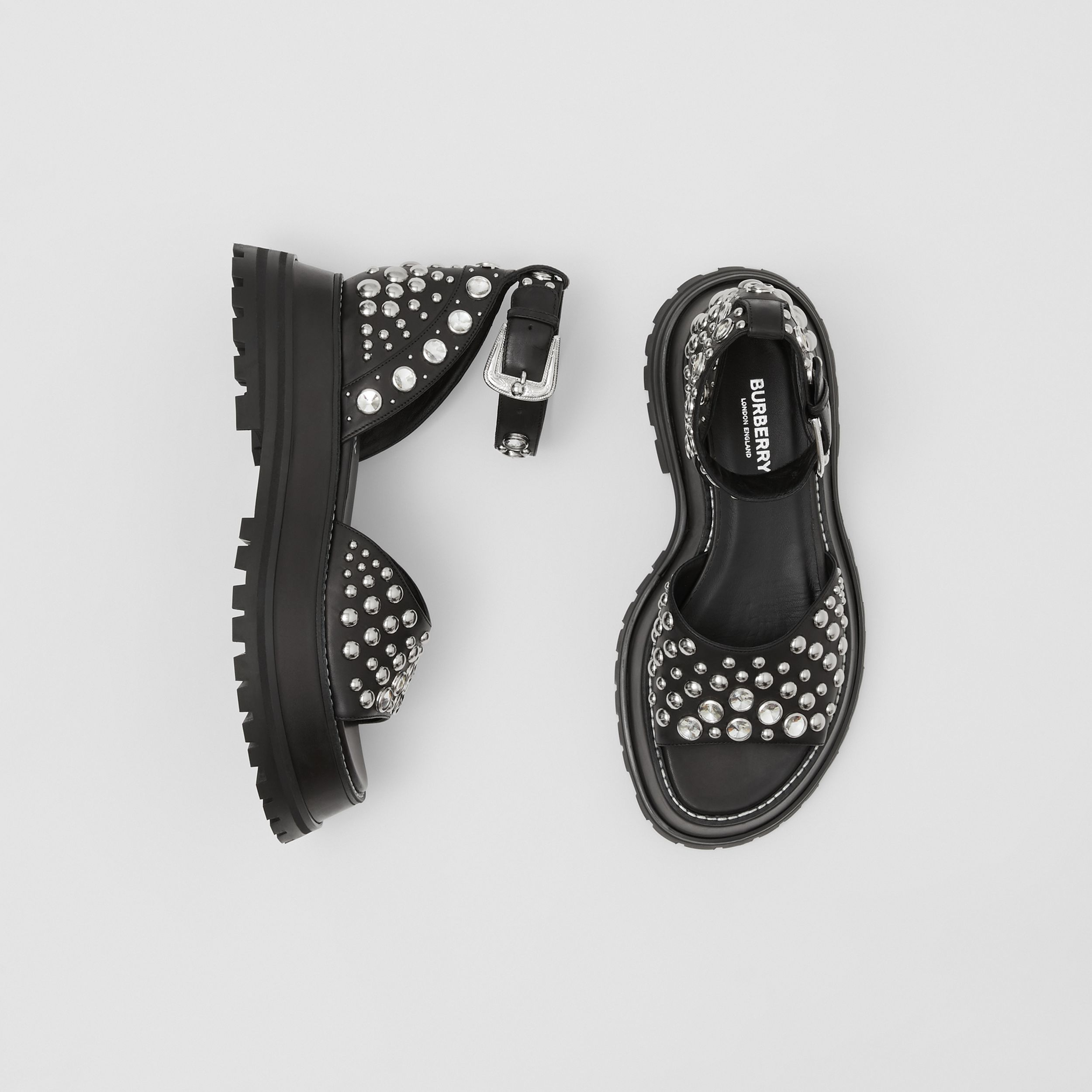 Embellished Leather Sandals in Black - Women | Burberry - 1