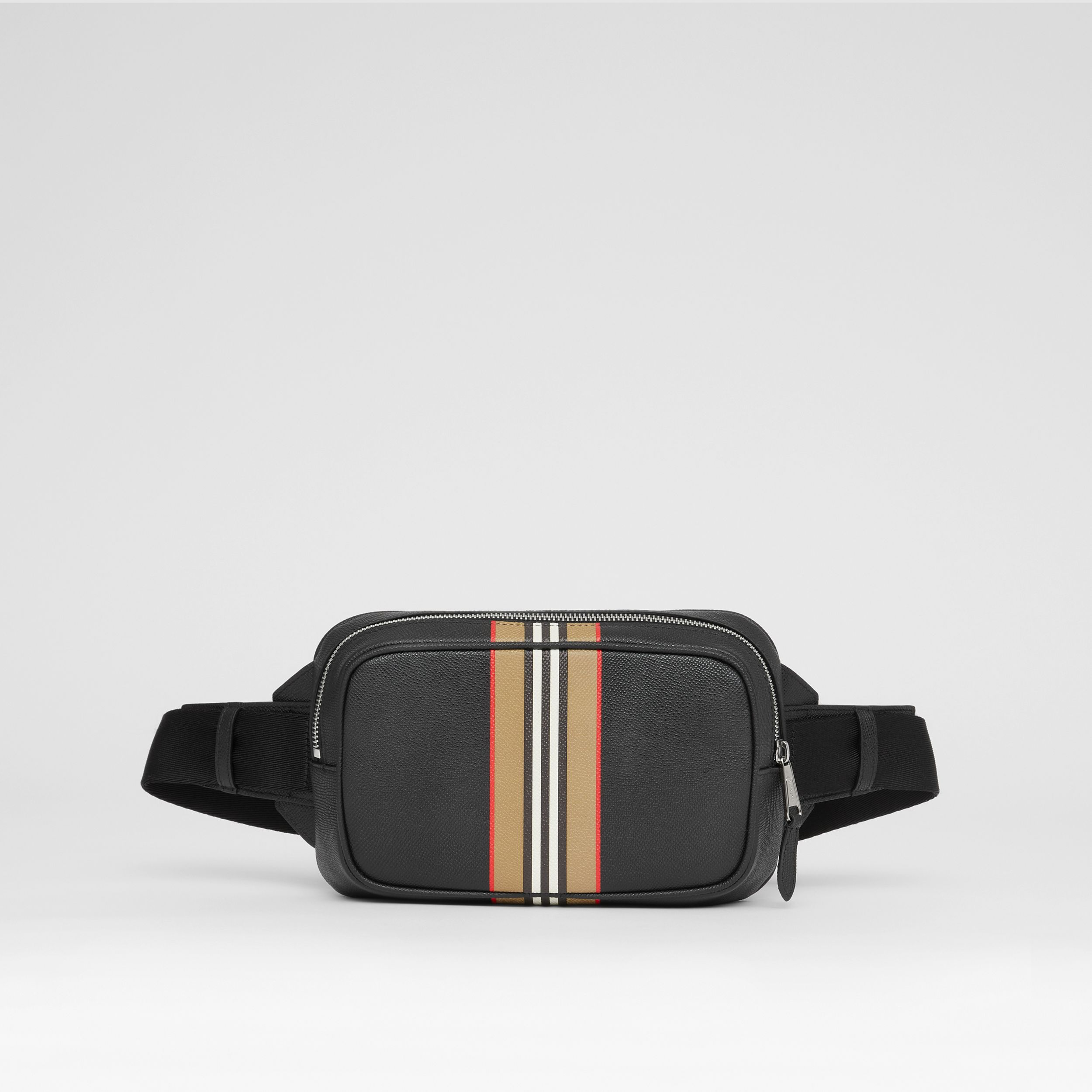 Icon Stripe Print Grainy Leather Bum Bag in Black - Men | Burberry - 1