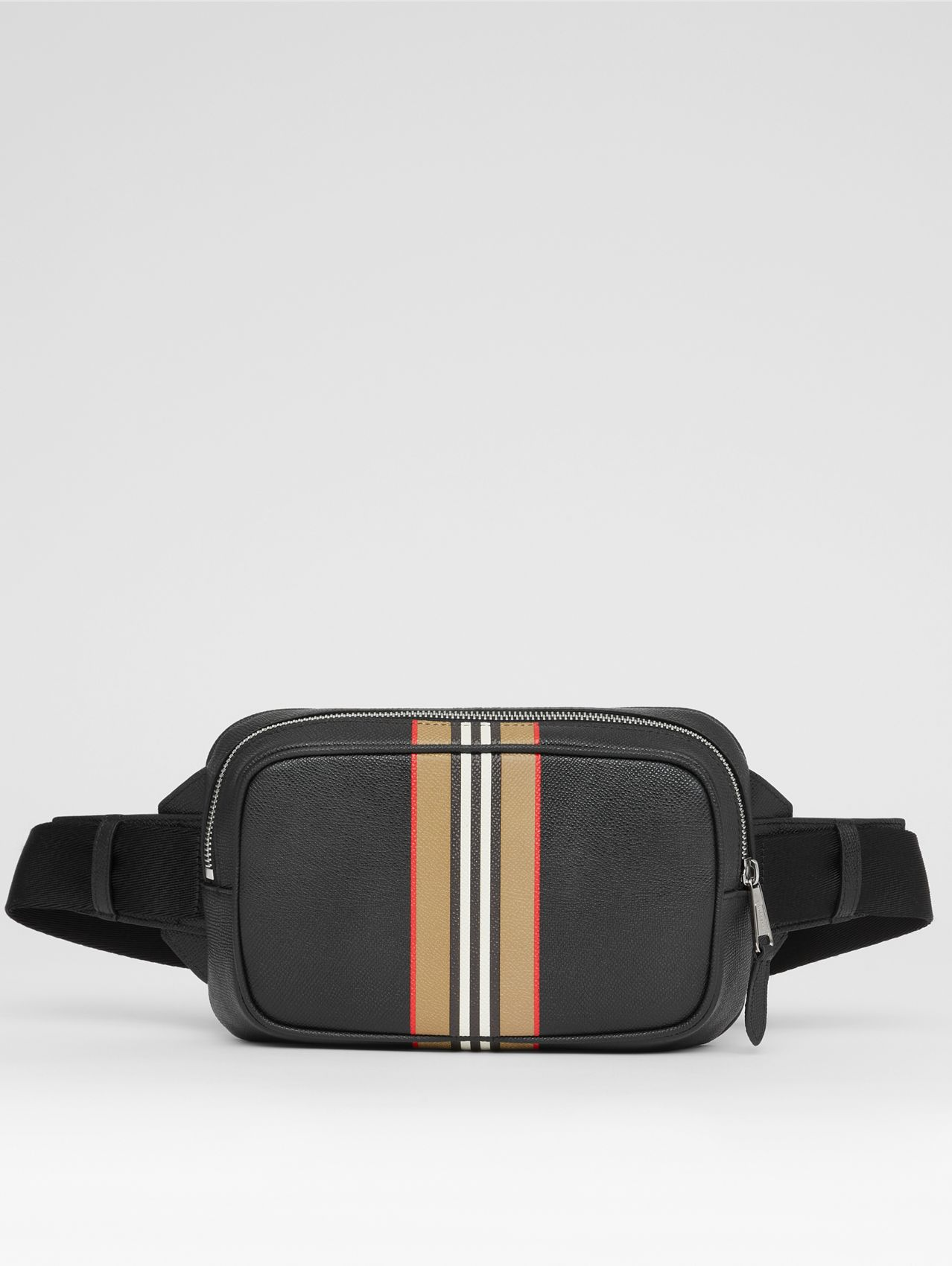 Icon Stripe Print Grainy Leather Bum Bag in Black
