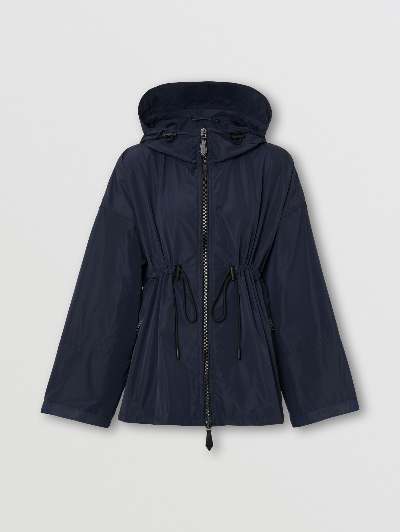 Shape-memory Taffeta Lightweight Hooded Jacket in Midnight Blue
