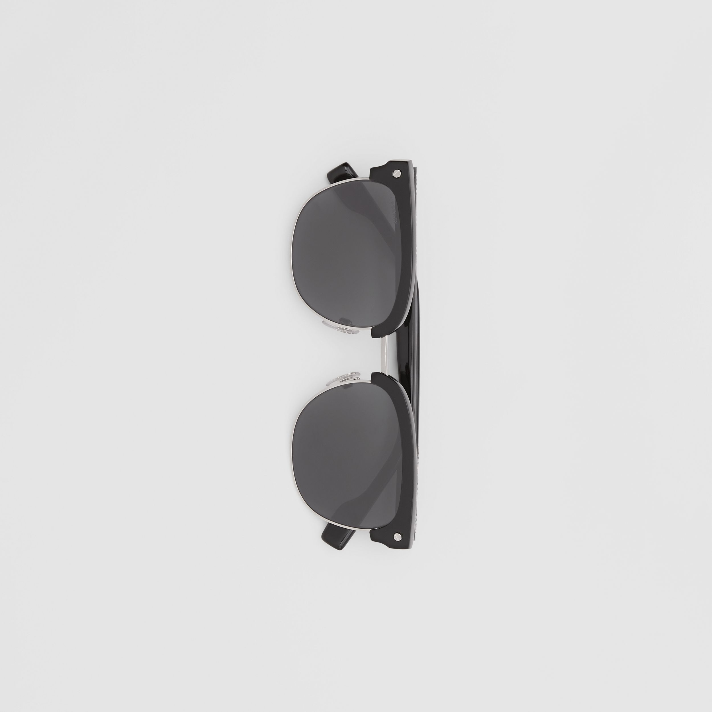 Icon Stripe Detail Square Frame Sunglasses in Black - Men | Burberry - 4
