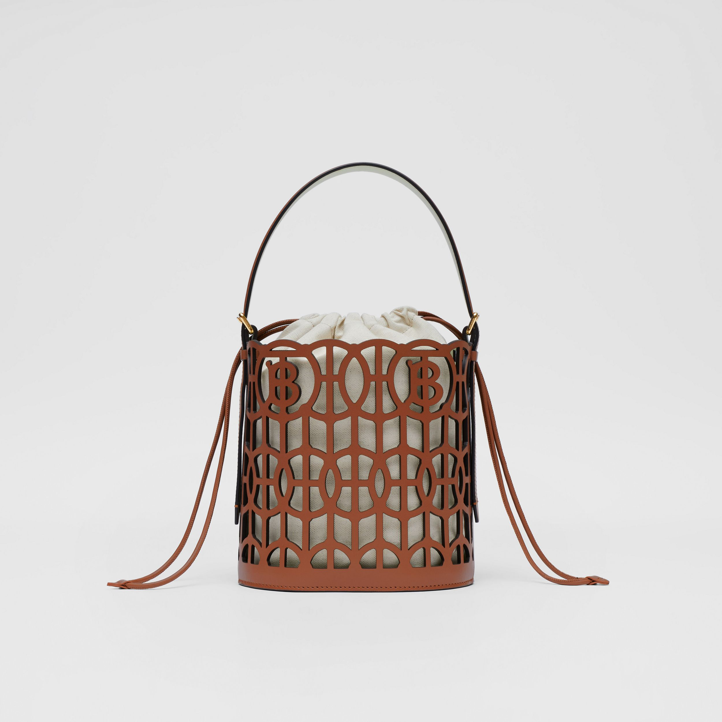 Leather Rose Bucket Bag in Tan - Women | Burberry - 1