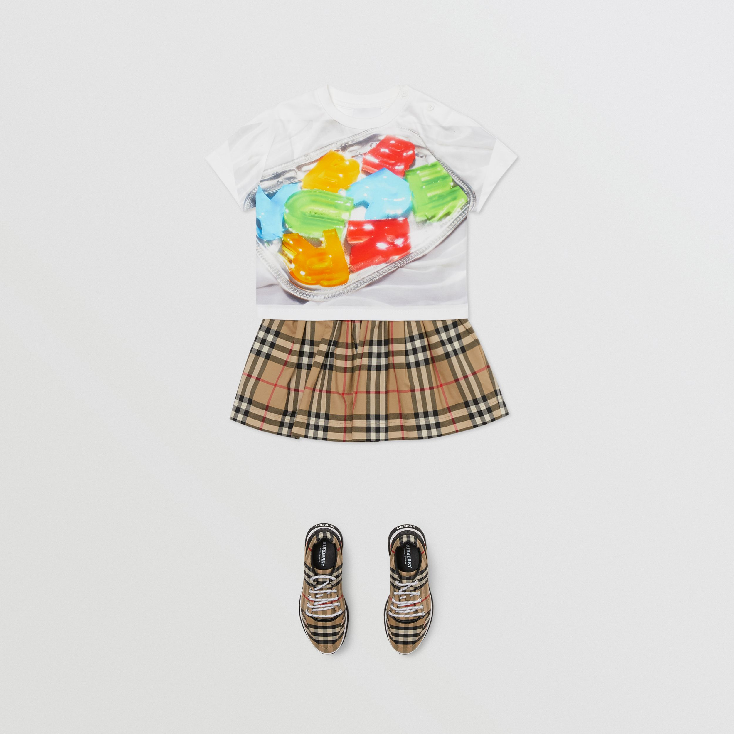 Confectionery Print Cotton T-shirt in Multicolour - Children | Burberry - 3