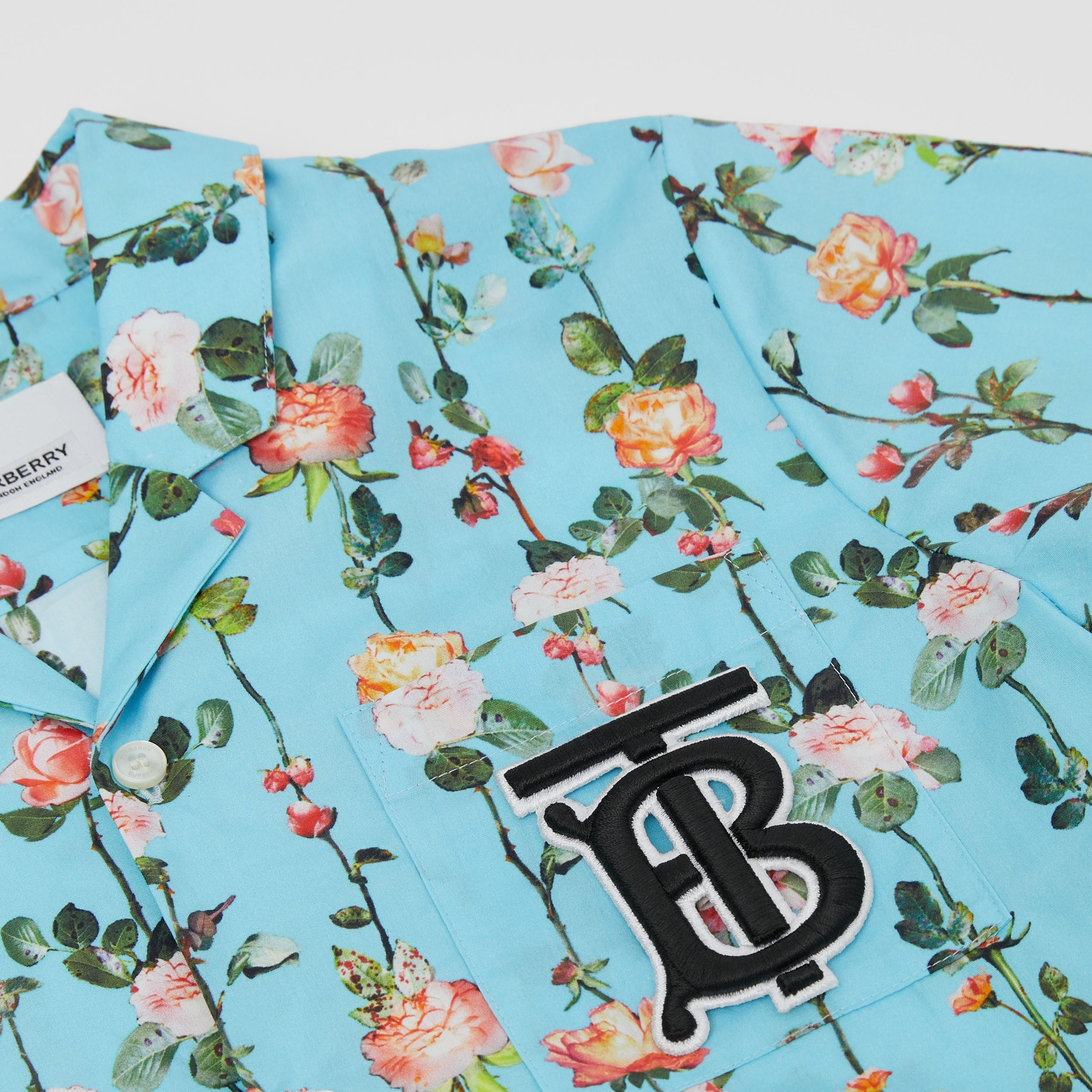 Short-sleeve Monogram Motif Rose Print Cotton Shirt in Blue Topaz | Burberry - 2