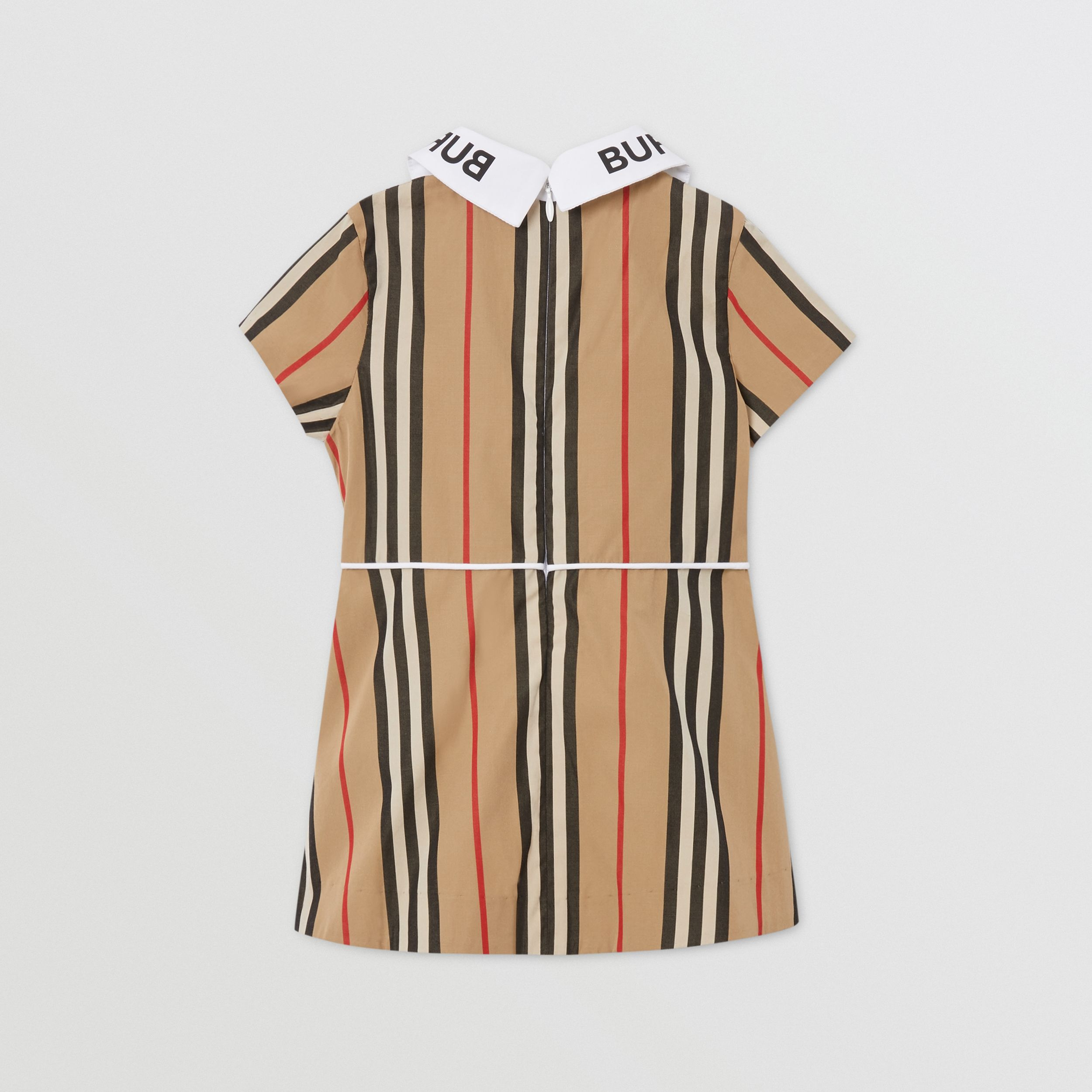 Logo Print Icon Stripe Cotton Poplin Dress in Archive Beige - Children | Burberry - 4
