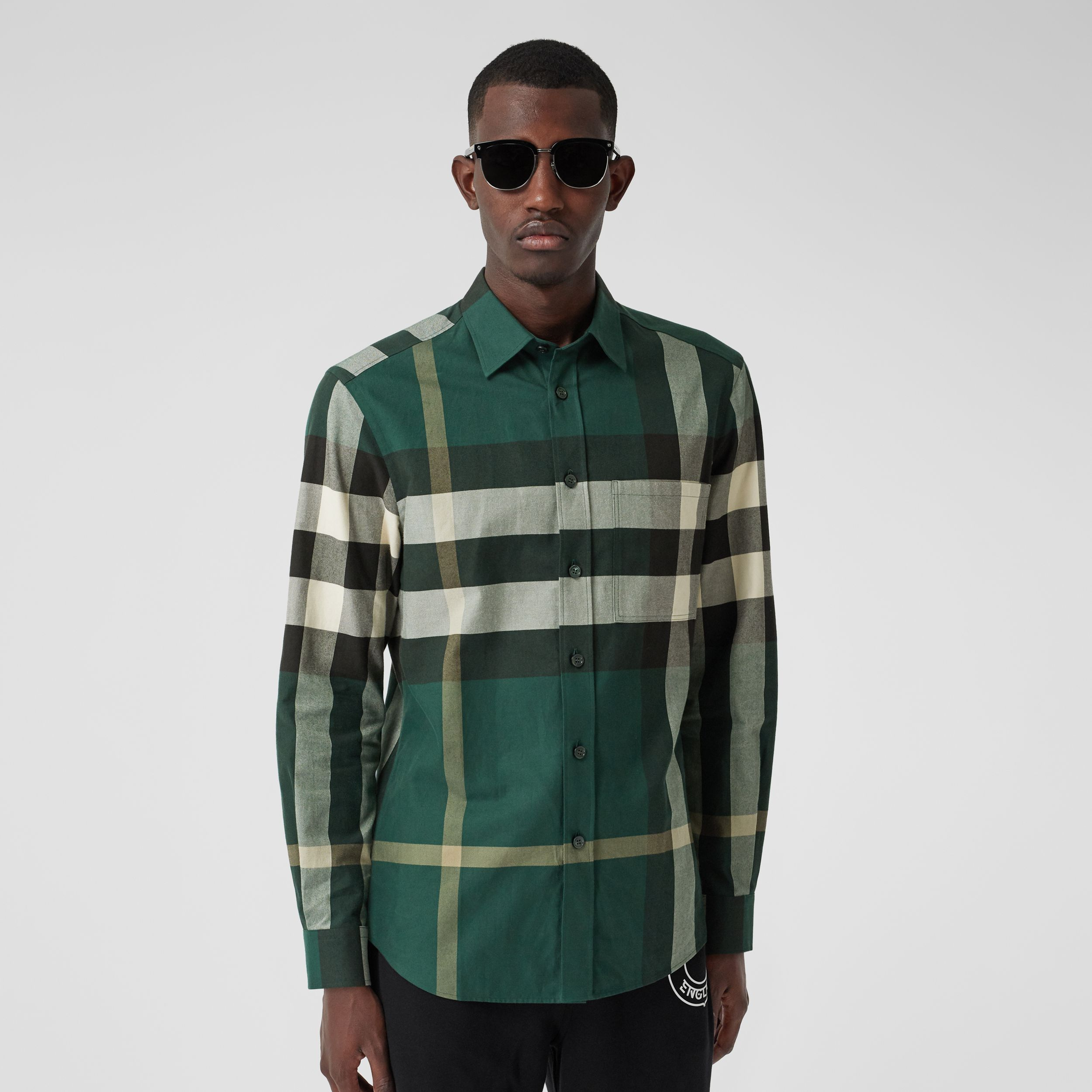 Check Cotton Flannel Shirt in Dark Forest Green - Men | Burberry - 1